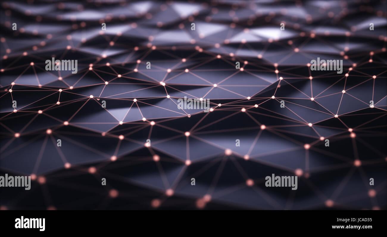 Ilustración 3D, fondo abstracto. Mallas con conexiones y puntos que puede representar el cloud computing o Imagen De Stock
