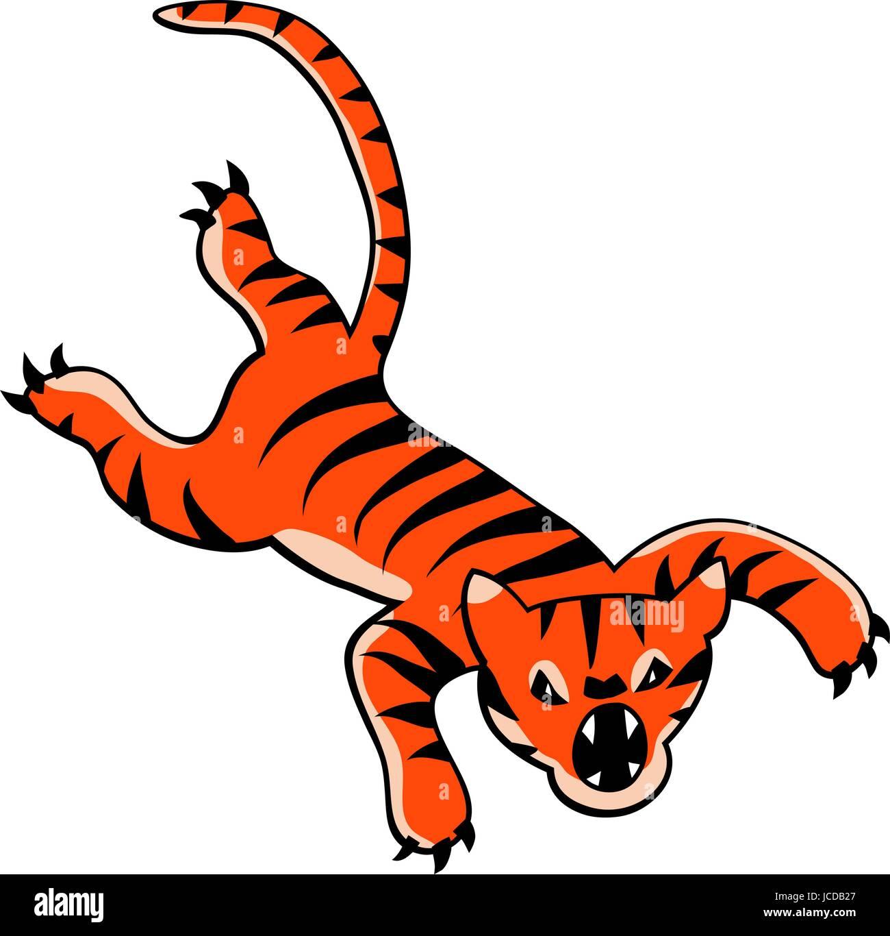 Cartoon vectorial editable de un tigre feroz saltando Imagen De Stock