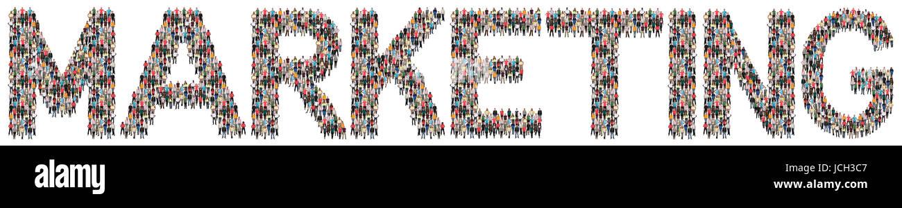 Marketing Publicidad estrategia empresarial grupo multiétnico de personas aisladas Imagen De Stock