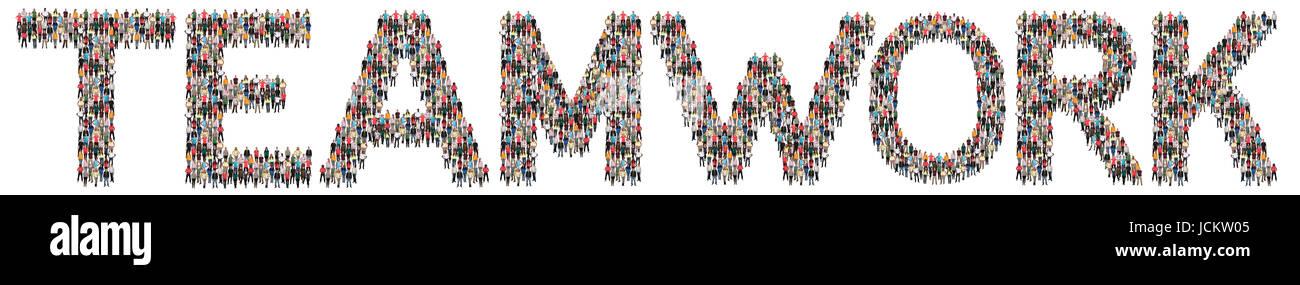 Trabajo en equipo team el éxito empresarial el éxito juntos grupo multiétnico de personas aisladas Imagen De Stock