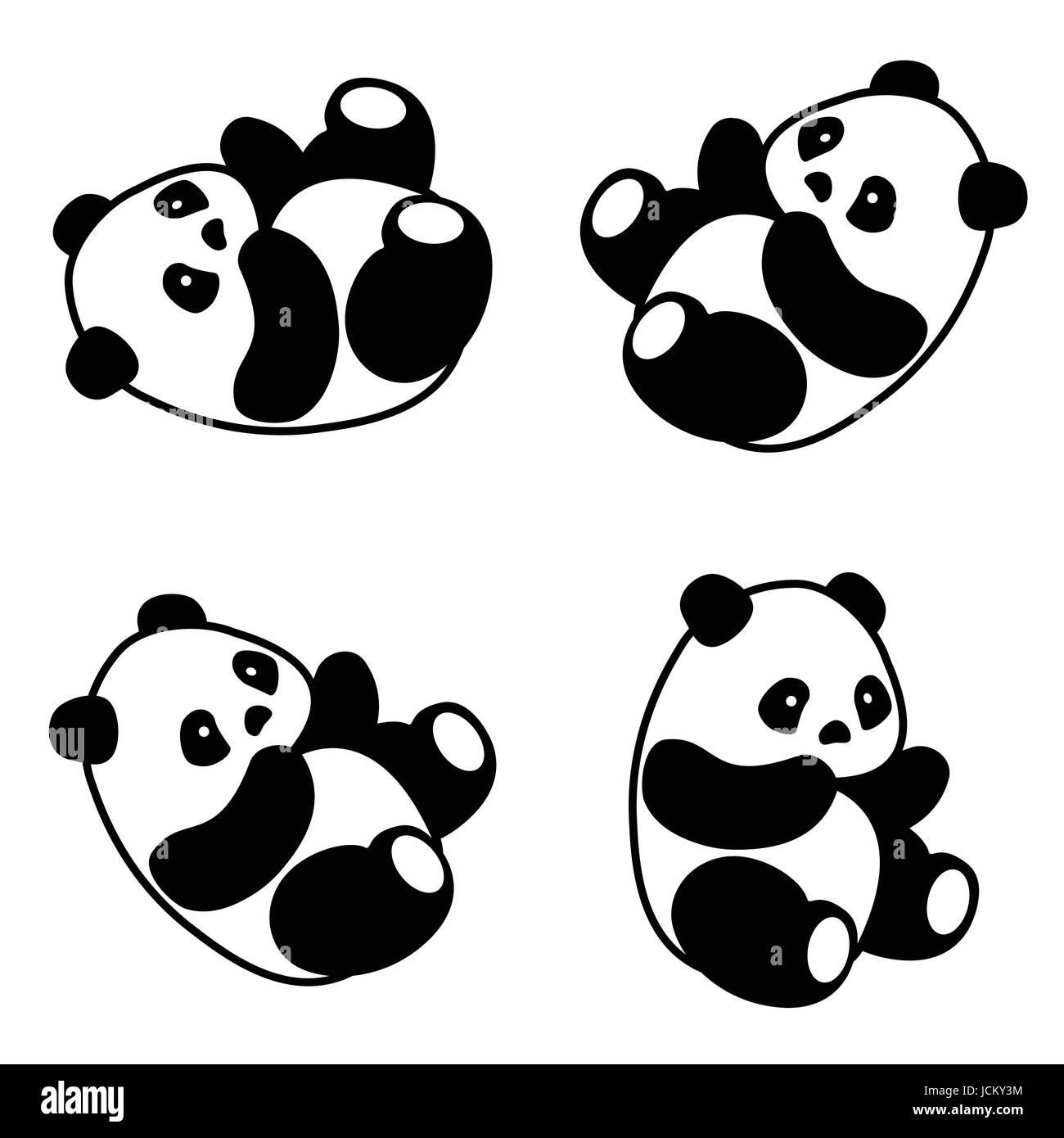 Ilustración Vectorial Cute Dibujos Animados Oso Panda Asiática