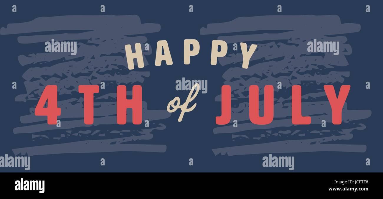 Tarjeta de felicitación con cuarto de julio mensaje Ilustración del Vector