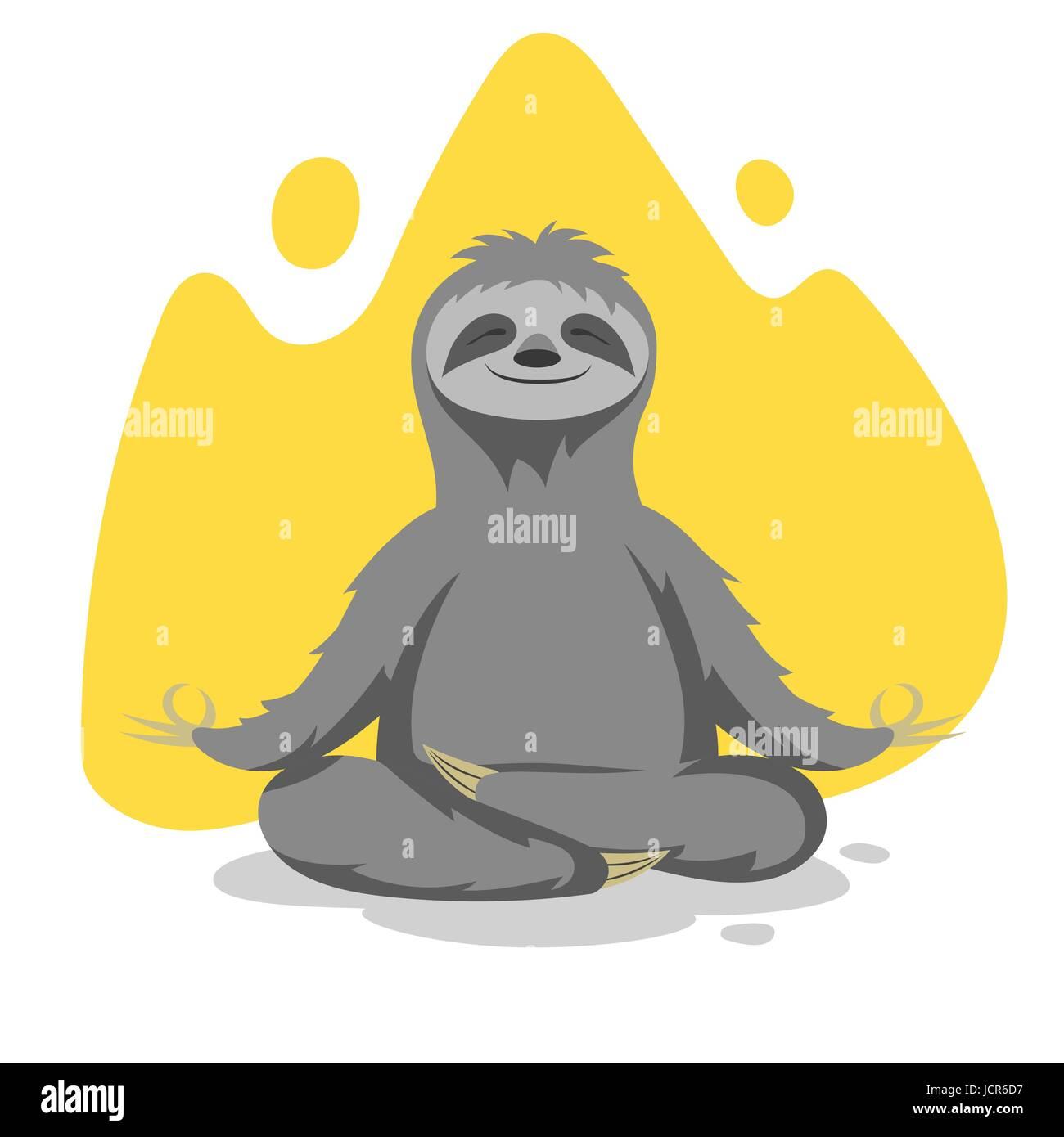 Ilustración vectorial de feliz lindo pereza practicar ejercicios de yoga. Impresión vectorial para t-shirt o diseño de póster. Ilustración del Vector