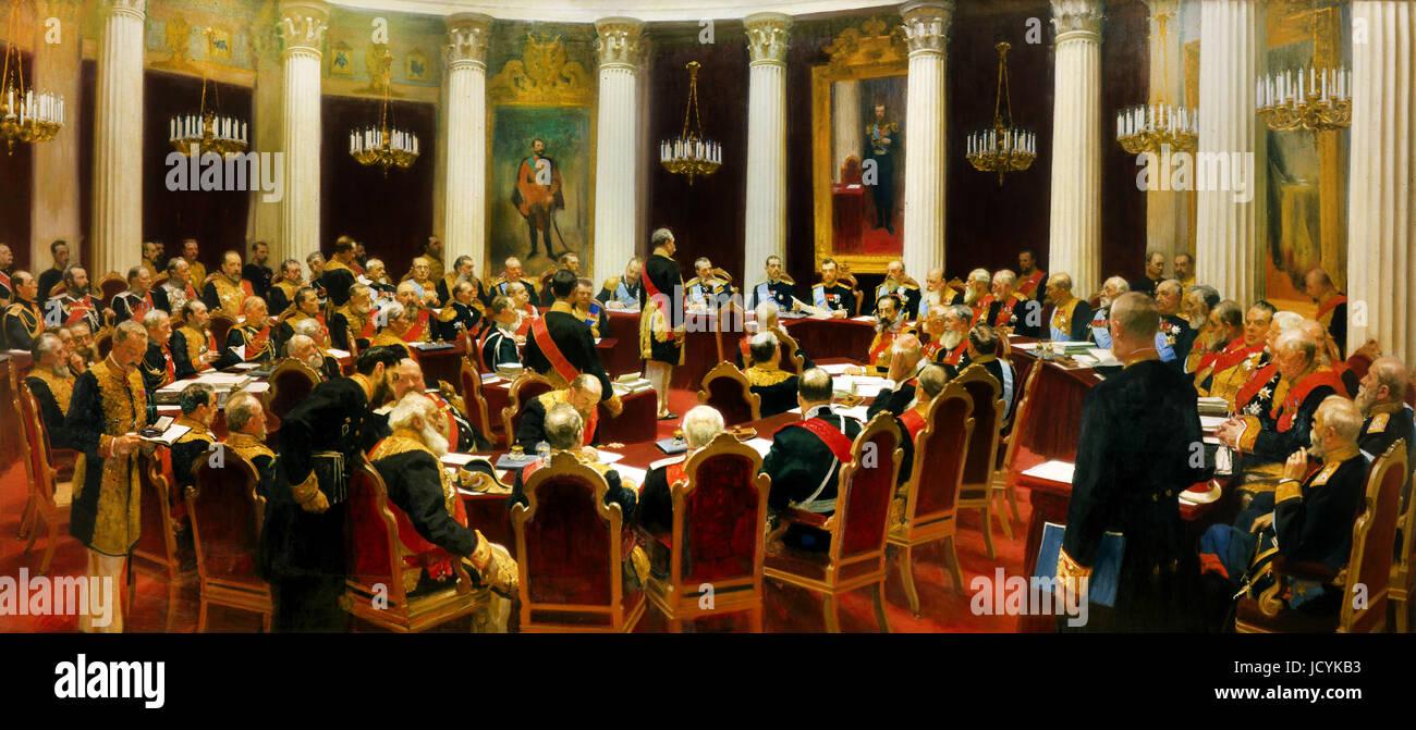 Ilya Repin, Sesión solemne del Consejo de Estado el 7 de mayo de 1901 se conmemora el centenario de su fundación. Imagen De Stock