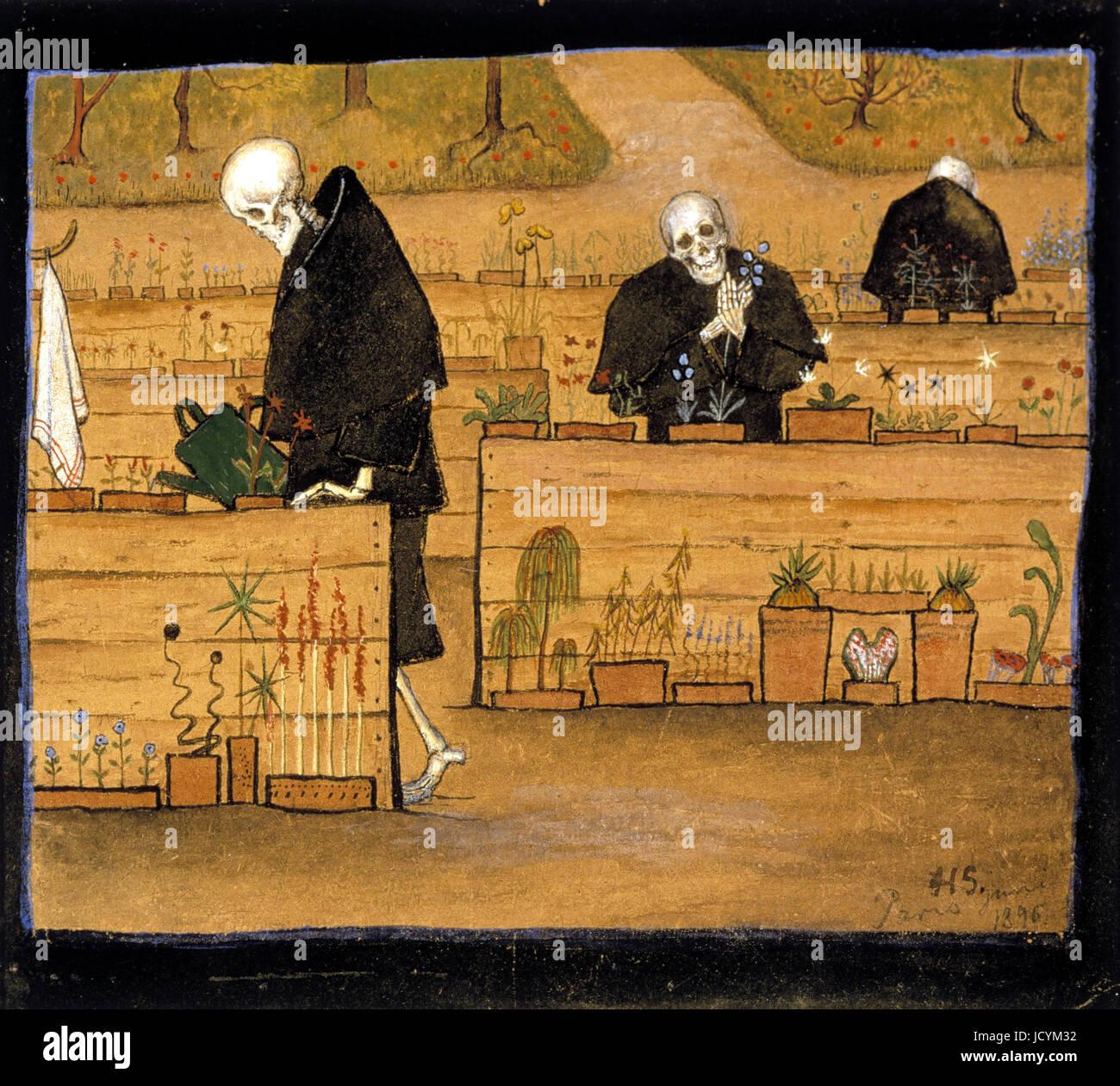 Hugo Simberg, el jardín de la muerte 1896 Óleo sobre lienzo. Acuarela, gouache. Ateneum se encuentra, Imagen De Stock