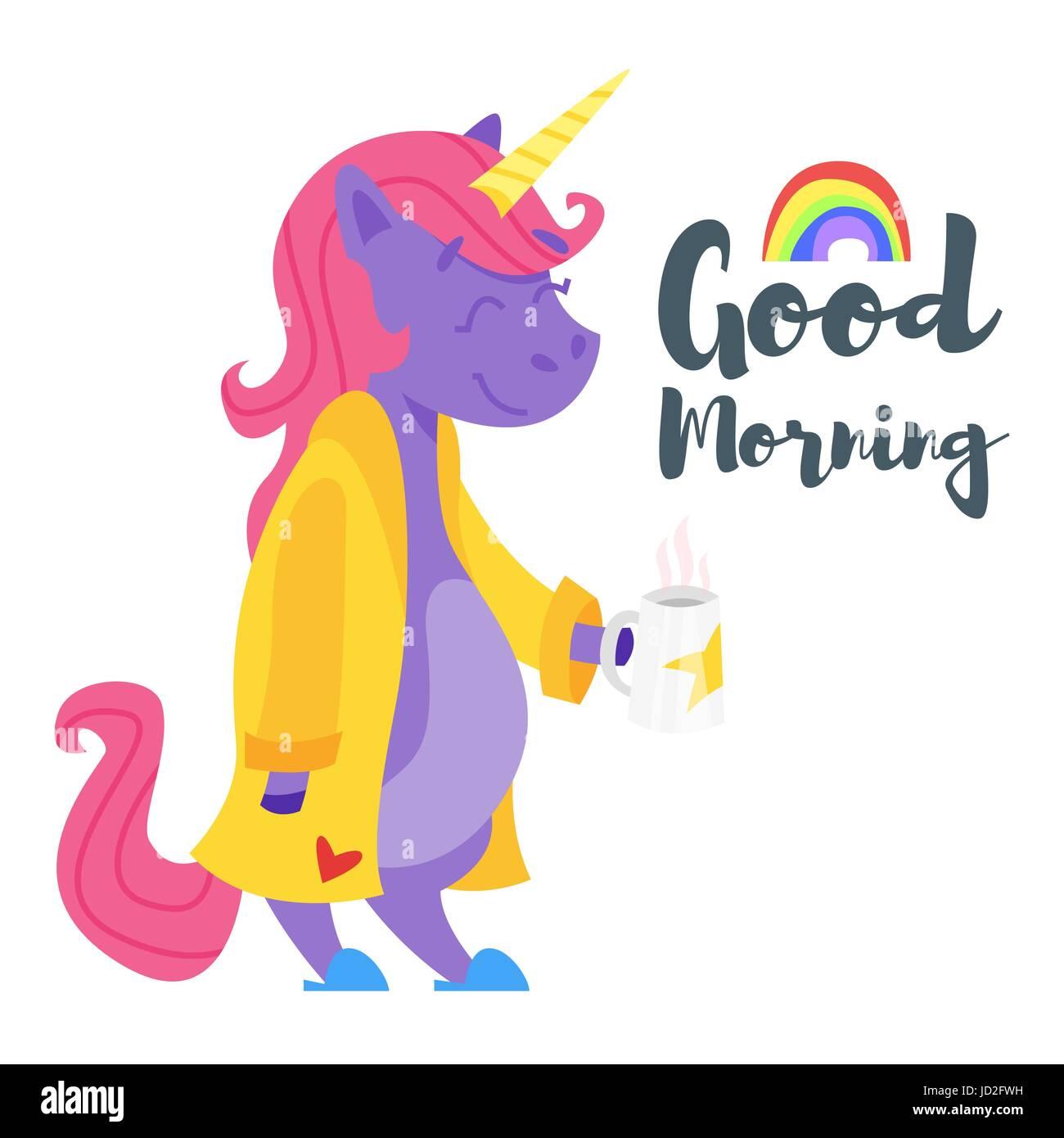 Vector Ilustración Del Estilo De Dibujos Animados De Happy Unicorn