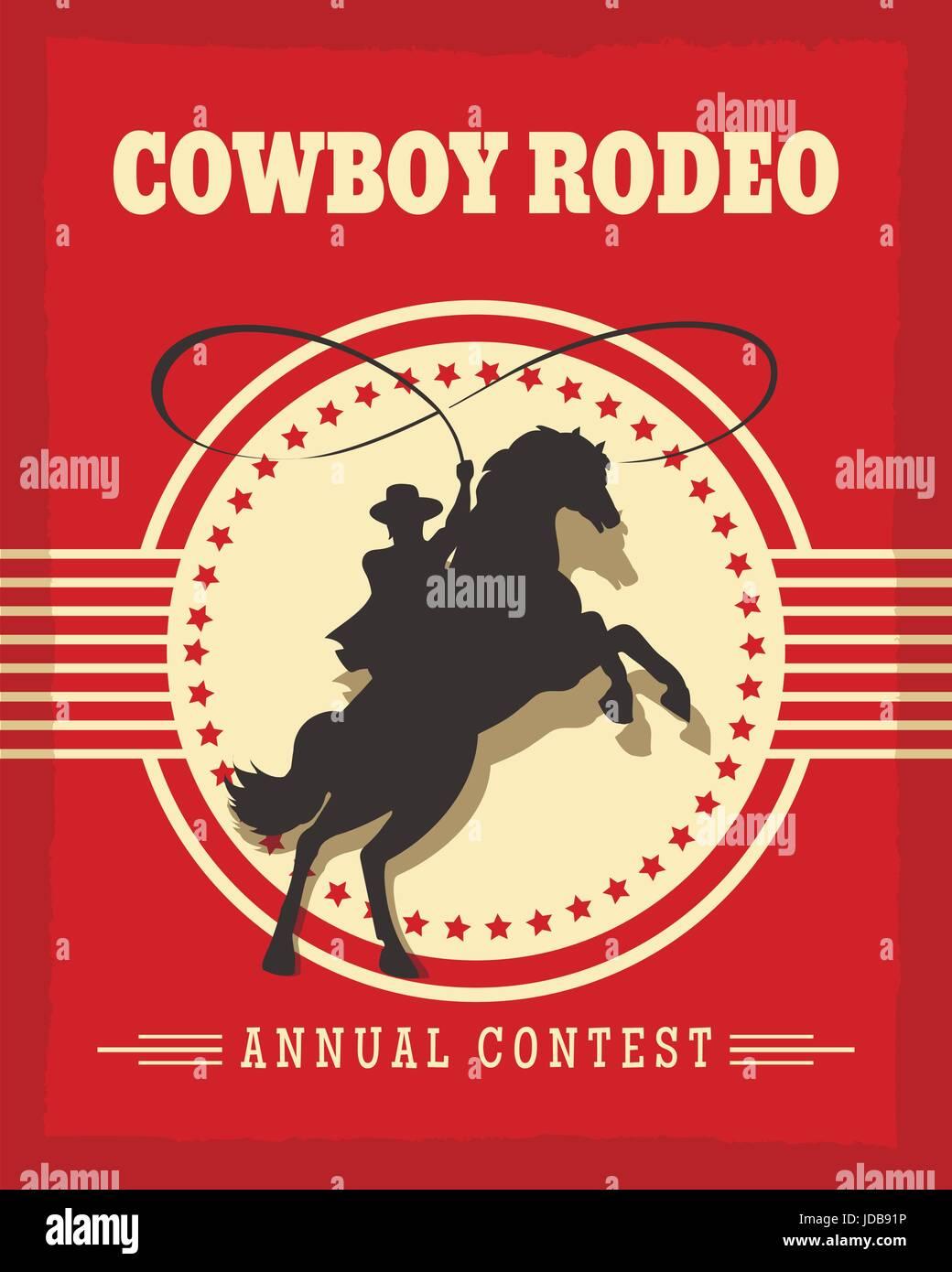 Old West rodeo vaqueros póster retro ilustración vectorial con el gaucho a caballo. Imagen De Stock