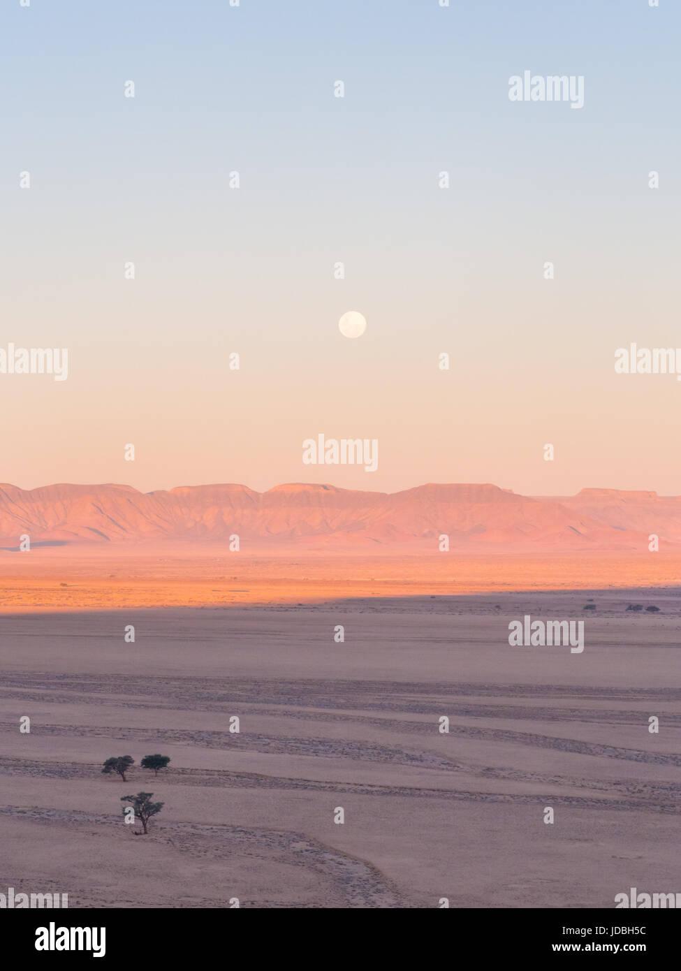 Paisaje el desierto de Namib iones n Parque Nacional Namib-Naukluft, Namibia, Africa, al atardecer. Foto de stock