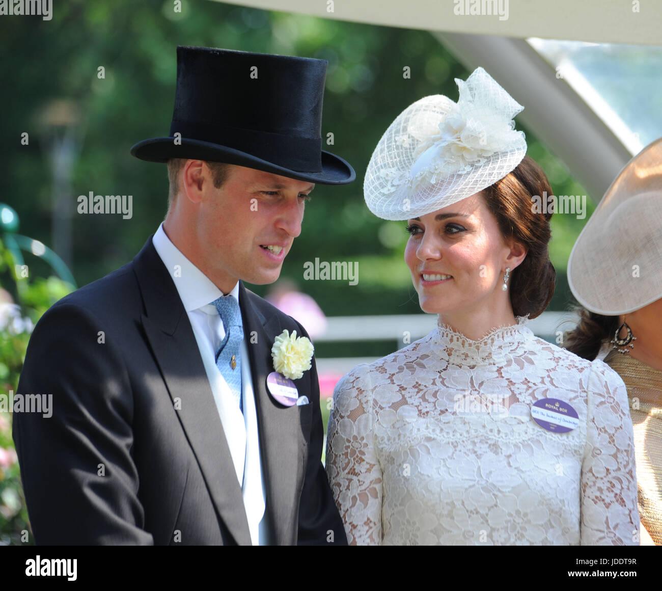 Ascot, Reino Unido. 20 de junio de 2017. Duque y Duquesa de Cambridge en el Royal Ascot, Berkshire, Reino Unido. Imagen De Stock