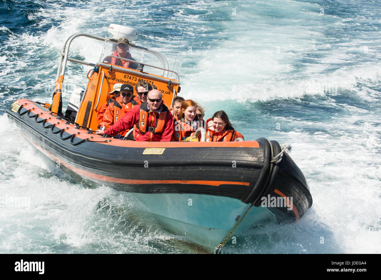 Anstruther viaje en barco inflable de casco rígido Osprey a la isla de Mayo, Anstruther, East Neuk de Fife, Imagen De Stock