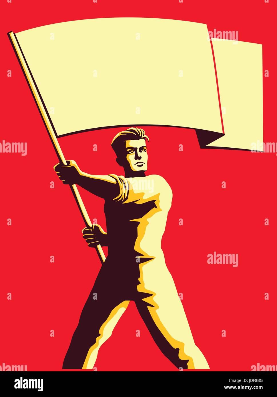 Vintage Style propaganda socialista Soviética patriot hombre sujetando la bandera en blanco ilustración Imagen De Stock