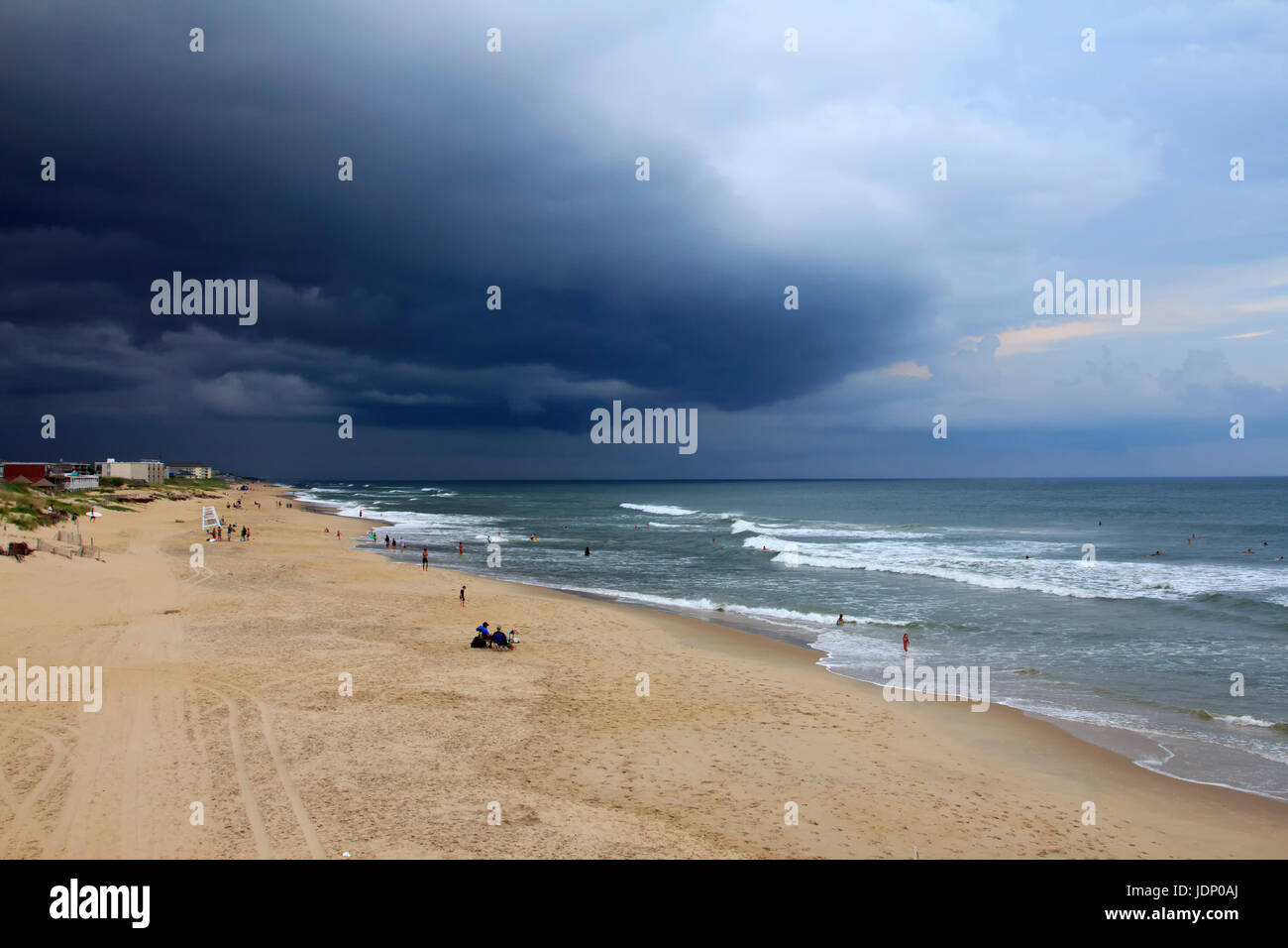 Tormenta acercándose nags head beach Outer Banks de Carolina del Norte Imagen De Stock
