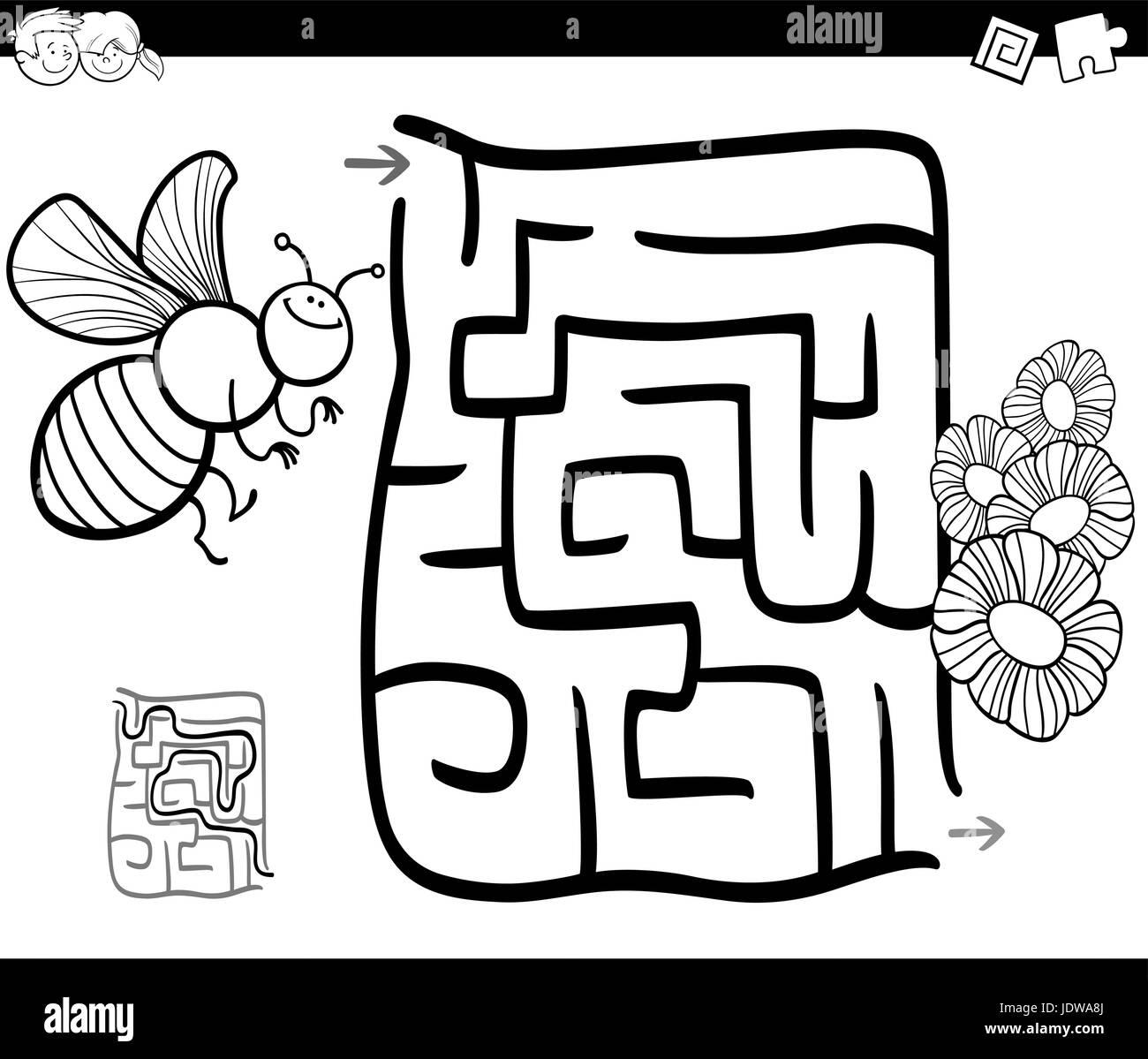 Ilustracion Caricatura En Blanco Y Negro De La Educacion Laberinto