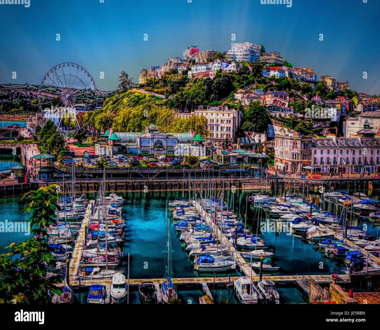Arte Digital: puerto de Torquay, Devon, Gran Bretaña Imagen De Stock