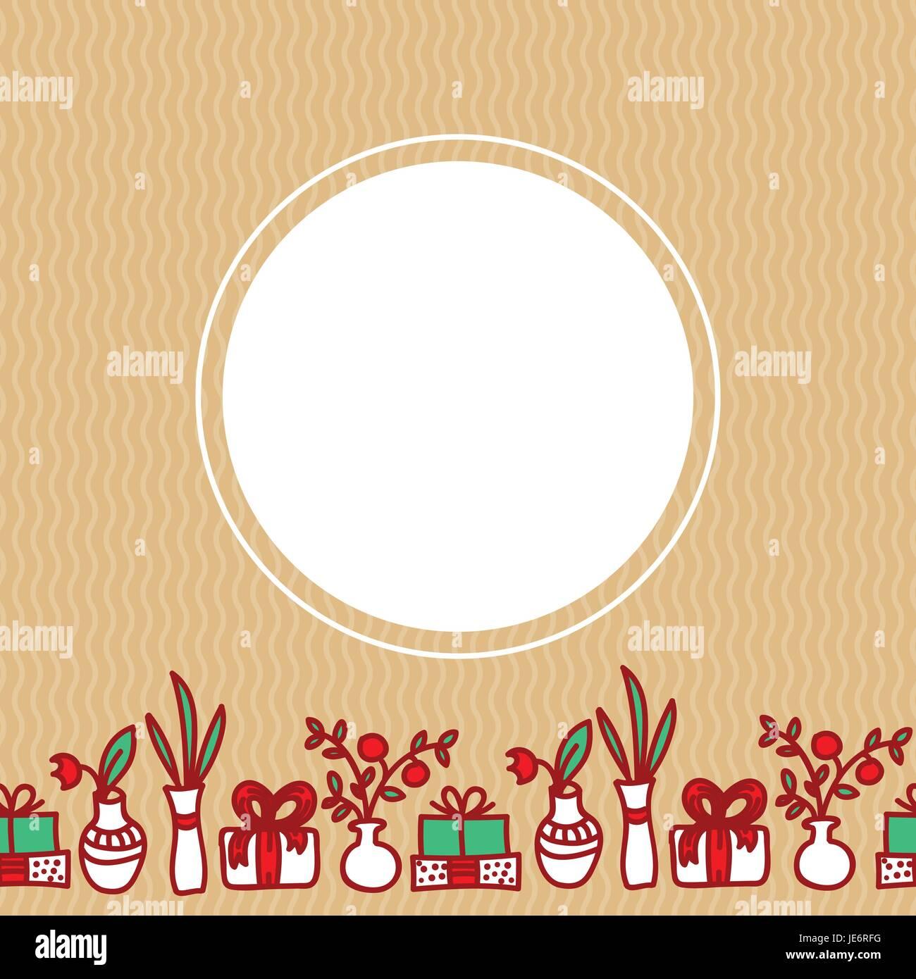 Frontera sin costuras con flores, caja de regalo, jarrón con holly ...