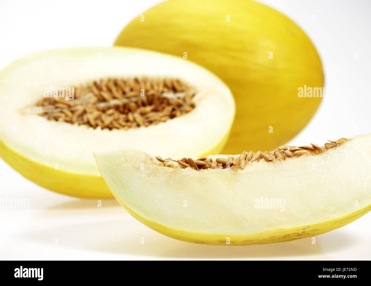 Amarillo canario, Melón Honeydew también Amarillo, Amarillo, Amarillo, sugar melon Tendral, Cucumis melo, Imagen De Stock