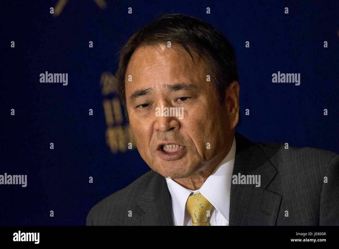 Tokyo, Tokio, Japón. El 23 de junio, 2017. Hiroji Yamashiro, Presidente del Movimiento por la paz de Okinawa Imagen De Stock