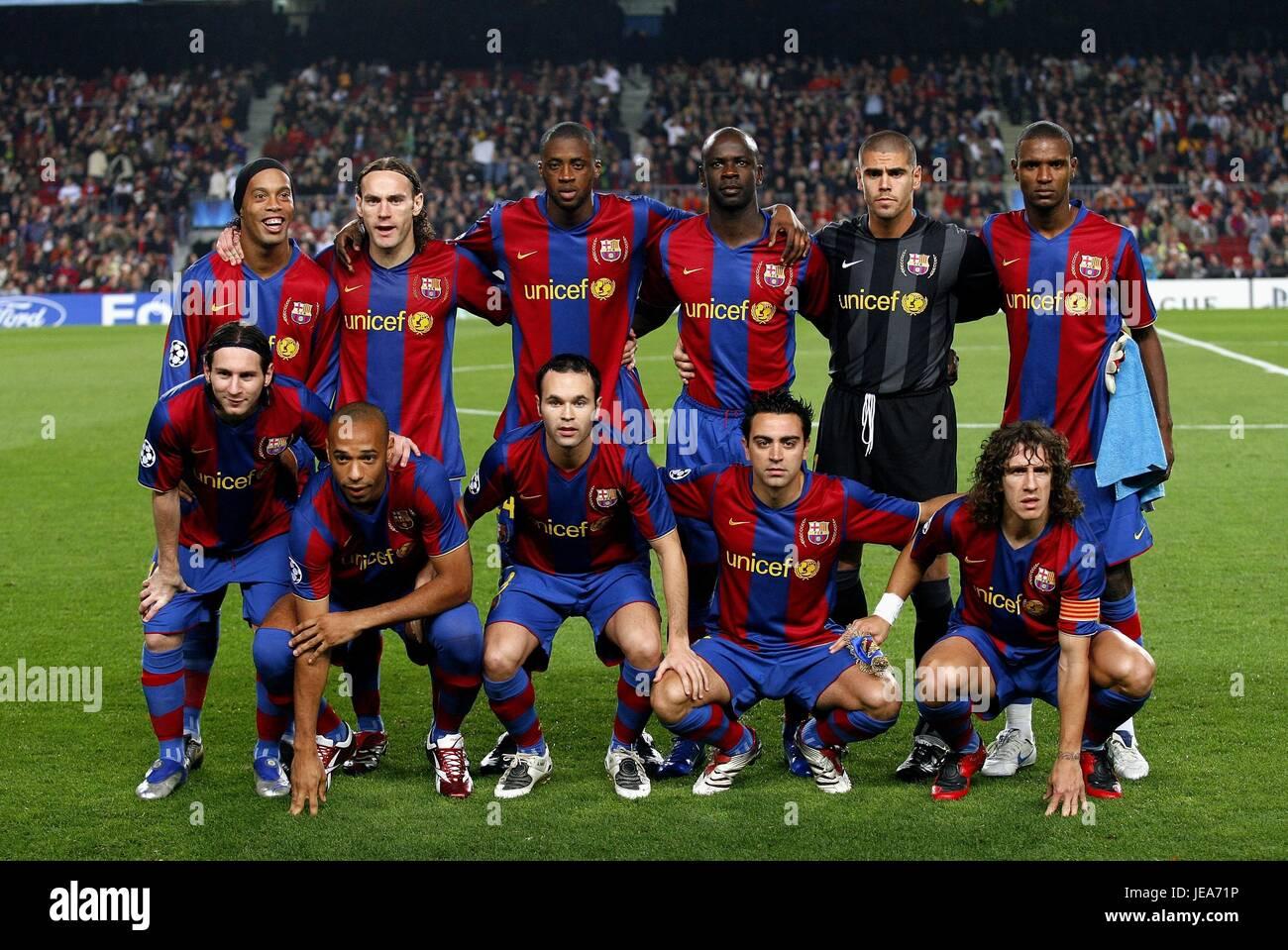 Equipo De Barcelona Fc Barcelona Camp Nou Barcelona España 07 De