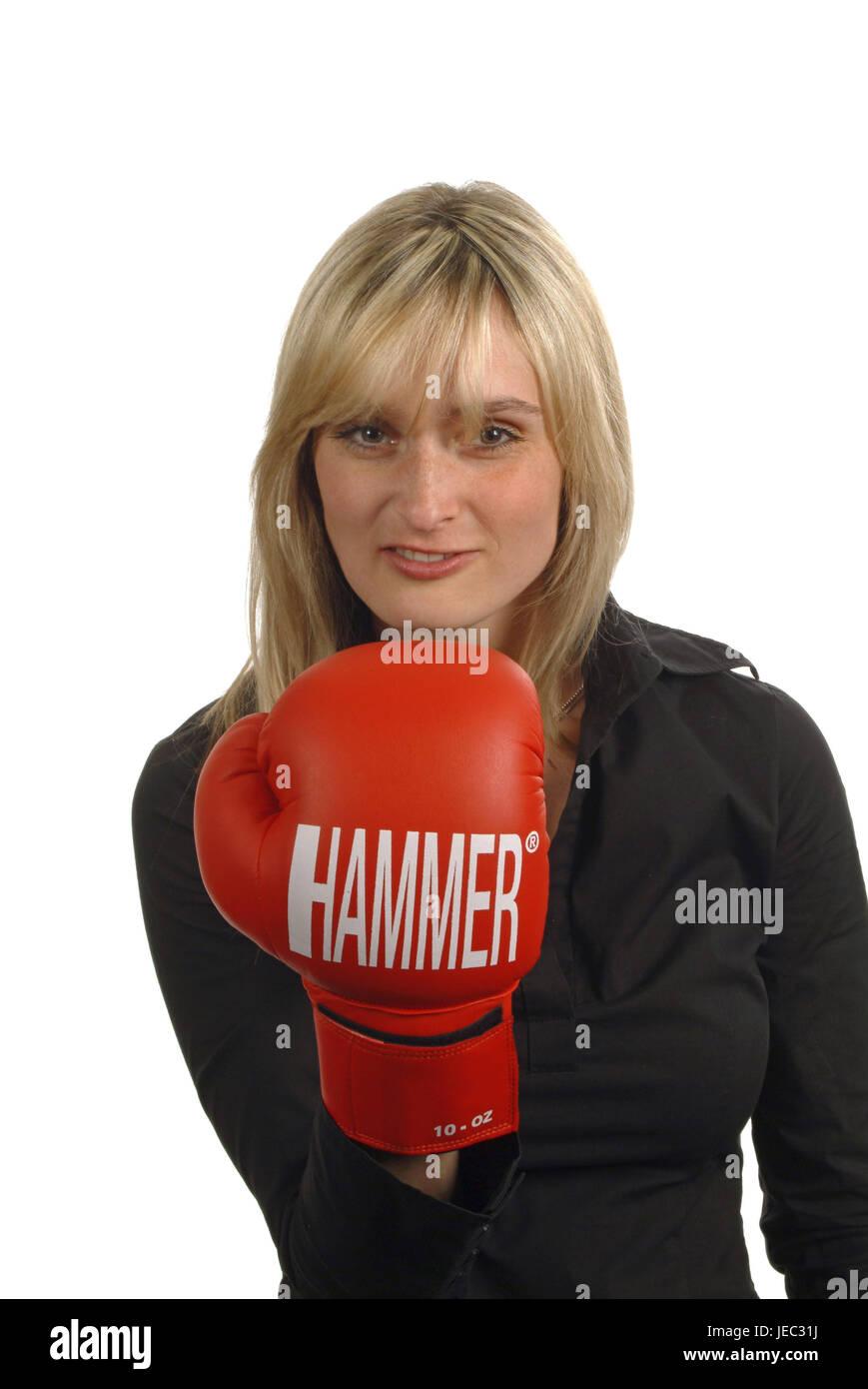 Mujer joven con guantes de boxeo, Foto de stock