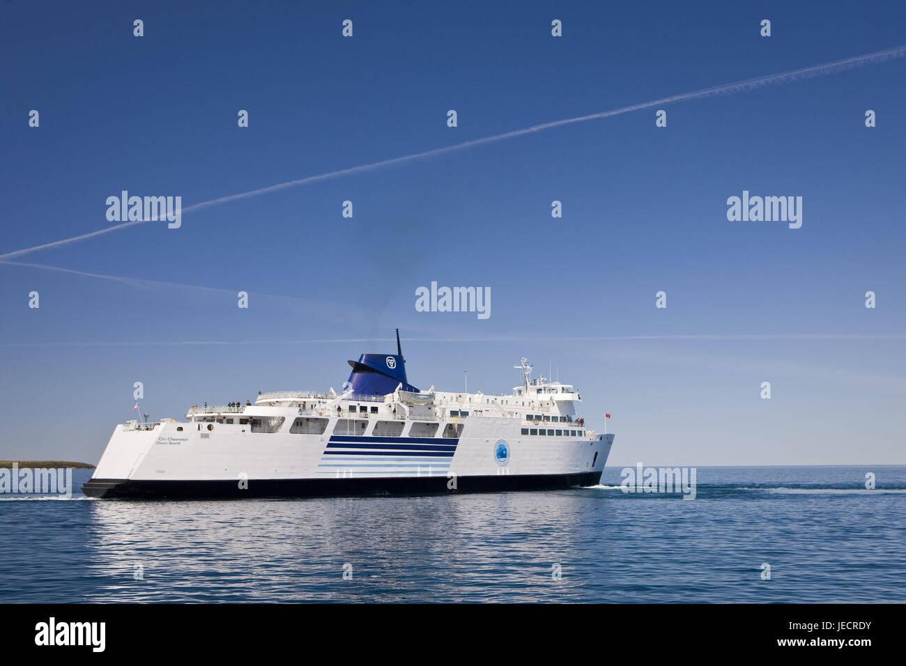 Canadá, Ontario, Tobermory, Bruce Península, salmuera Huron, ferry 'Chi-Cheemaun', Foto de stock