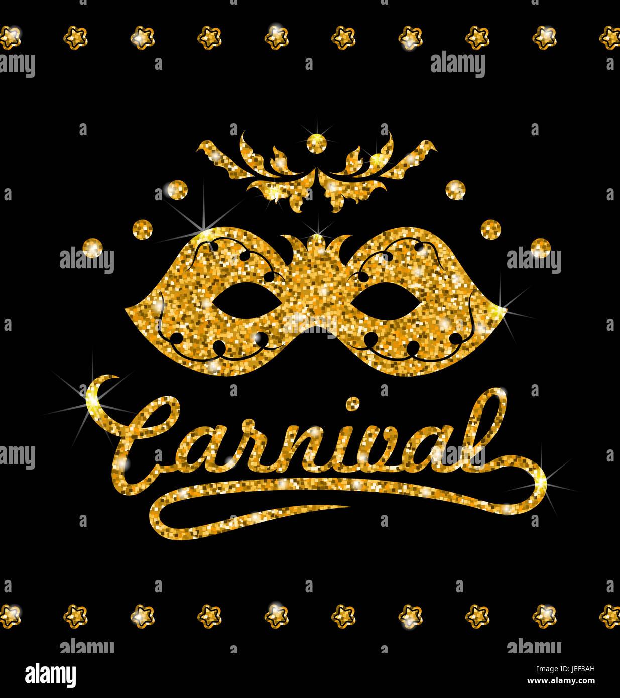 Ilustración Brillante De La Máscara De Carnaval Con Polvo De