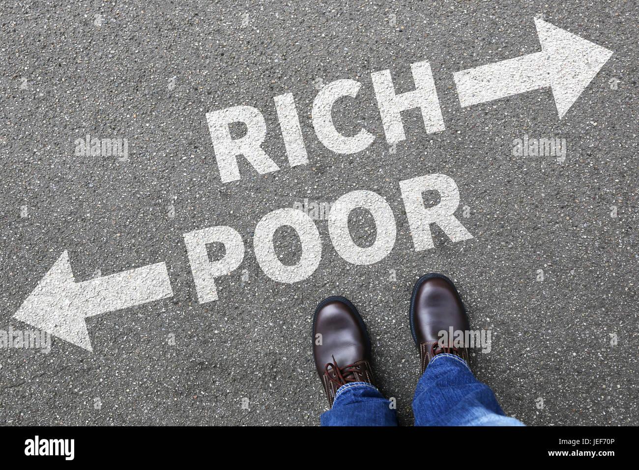 Pobres ricos la pobreza financia el éxito financiero exitoso concepto de negocio dinero finanzas Imagen De Stock