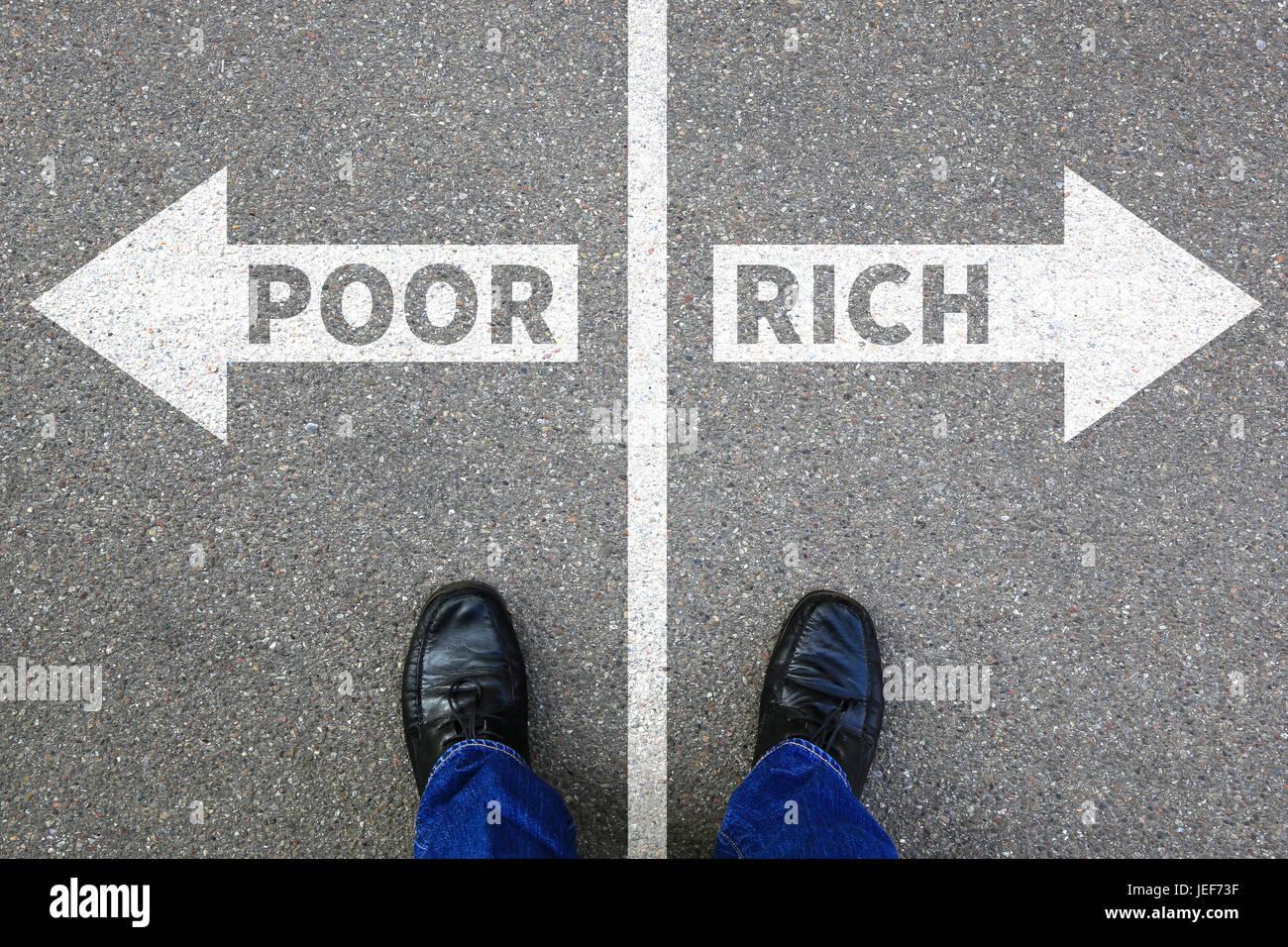 Pobres ricos la pobreza financia el éxito financiero exitoso concepto de negocio de la empresa finanzas Imagen De Stock
