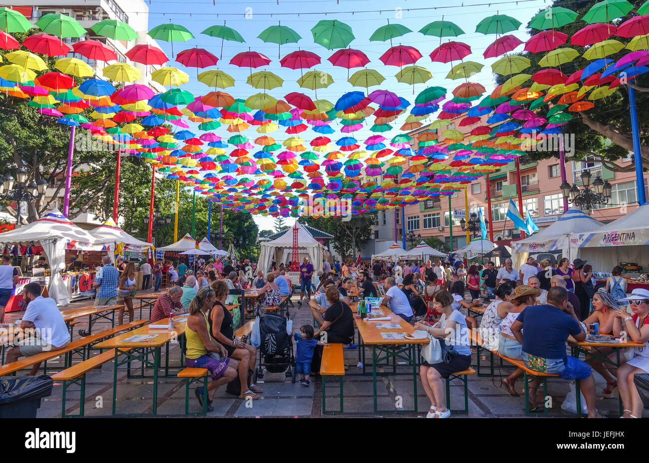 Festival de comida de diferentes culturas, Torremolinos, Málaga, Andalucía. Foto de stock