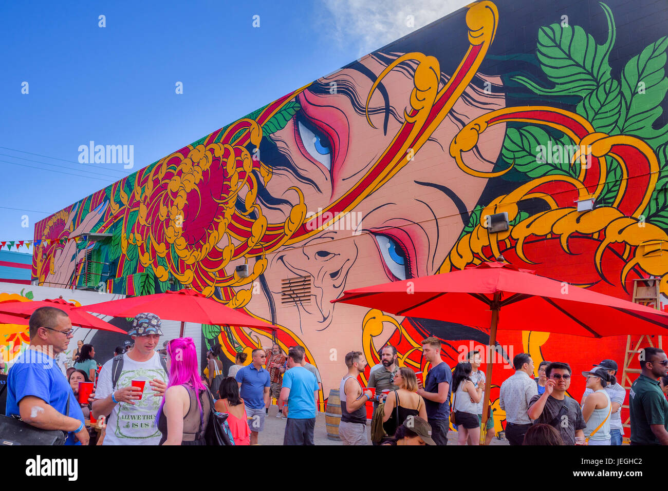 Vancouver, Canadá. 24 Jun, 2017. Strathcona fiesta en la Calle, Festival de murales de Vancouver, Vancouver, Imagen De Stock
