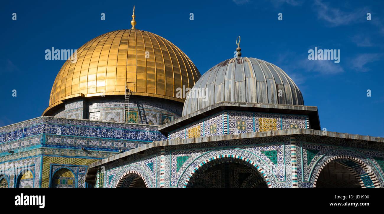 El Monte del Templo y la cúpula de la roca, la Ciudad Vieja de Jerusalén; Jerusalén, Israel Imagen De Stock
