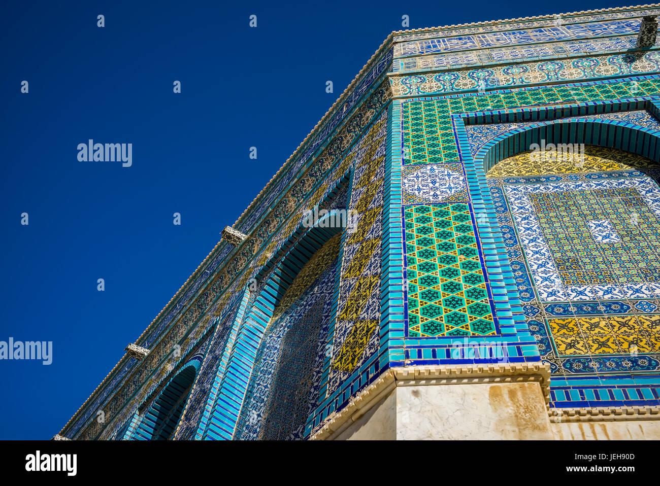 Fachada del Monte del Templo y la cúpula de la roca, la Ciudad Vieja de Jerusalén; Jerusalén, Israel Imagen De Stock