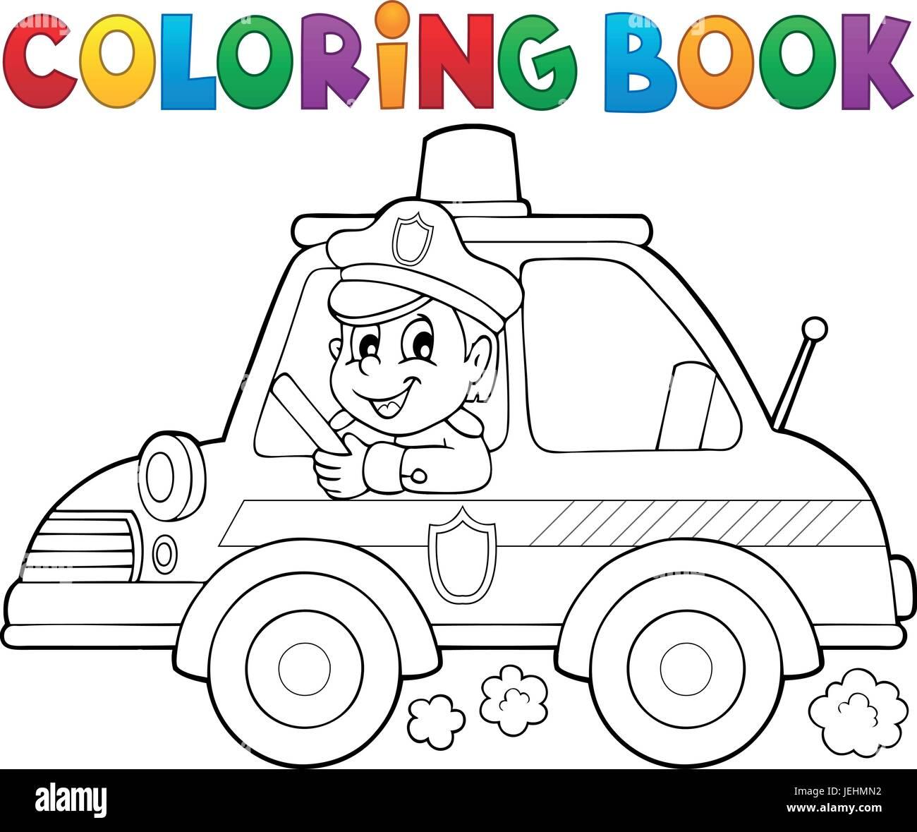 Libro para colorear de coche de policía Tema 1 - eps10 ilustración ...