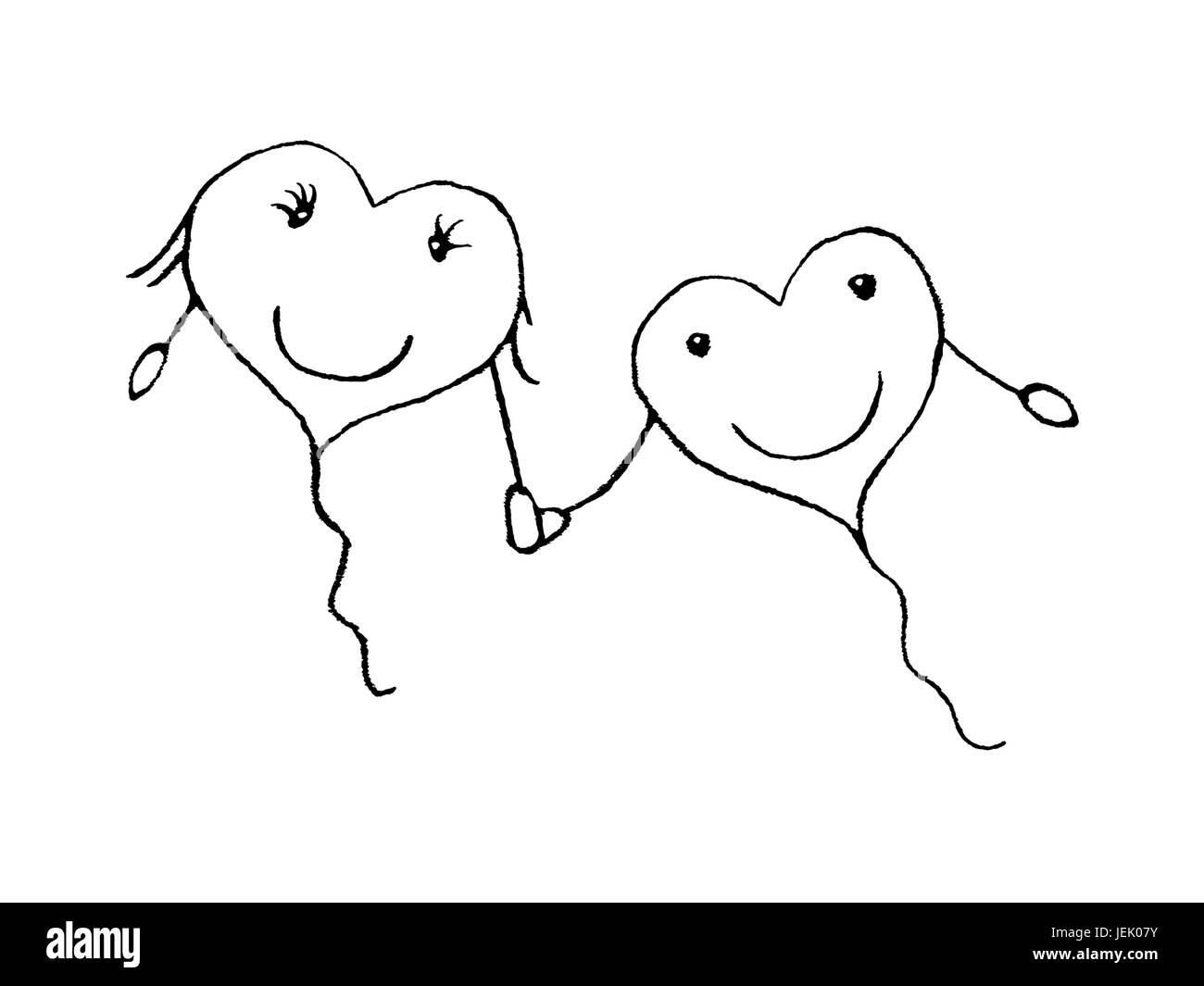 Amor Pareja Concepto Dibujo A Lápiz Foto Imagen De Stock