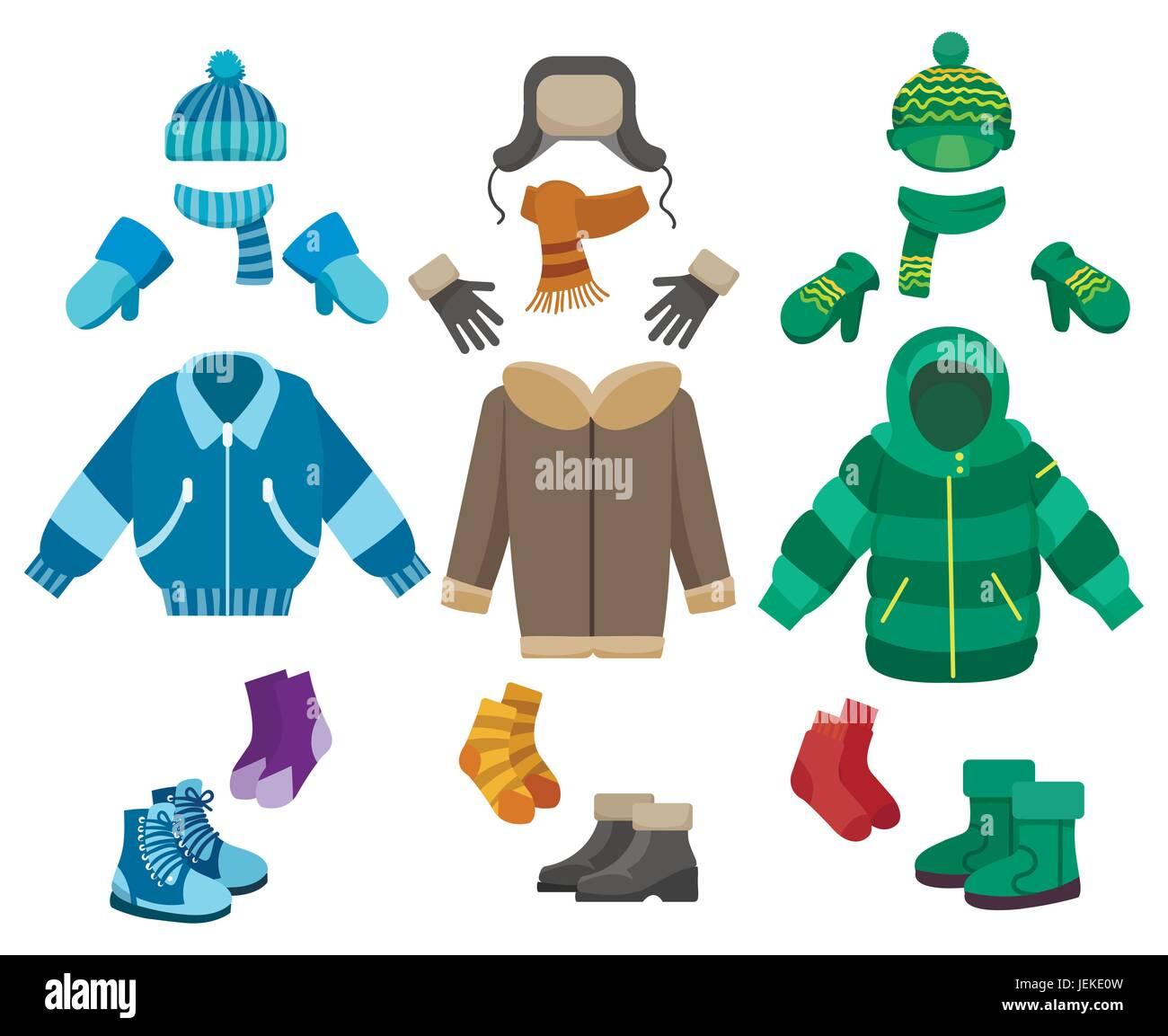 a559e0b4bb Ropa de invierno macho aislado sobre fondo blanco. Clima frío colección de  ropa para niños