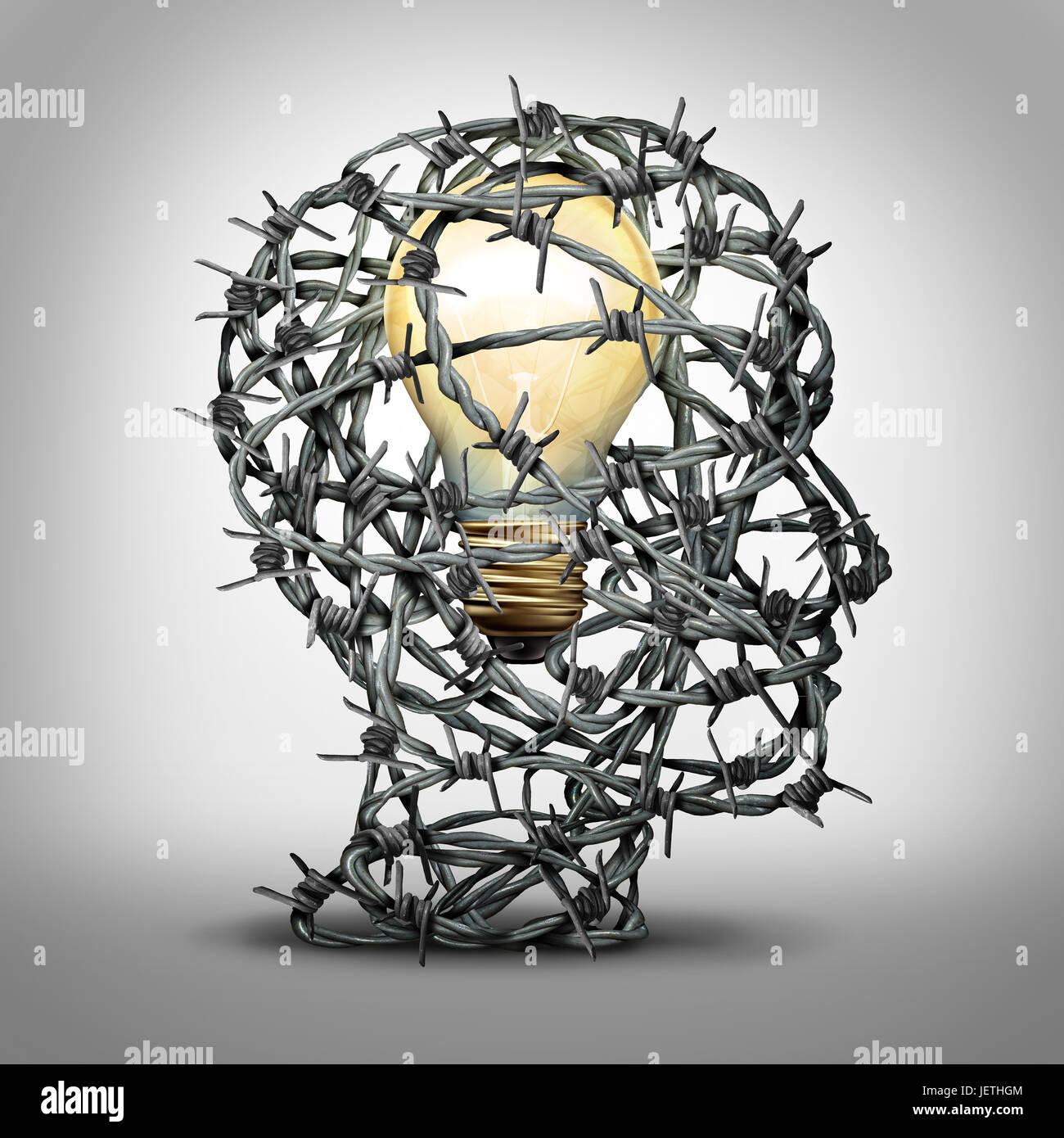Proteger su idea empresarial concepto de pensamiento como un grupo de alambres de púas en forma de cabeza humana con una bombilla de luz interior como medida de seguridad. Foto de stock