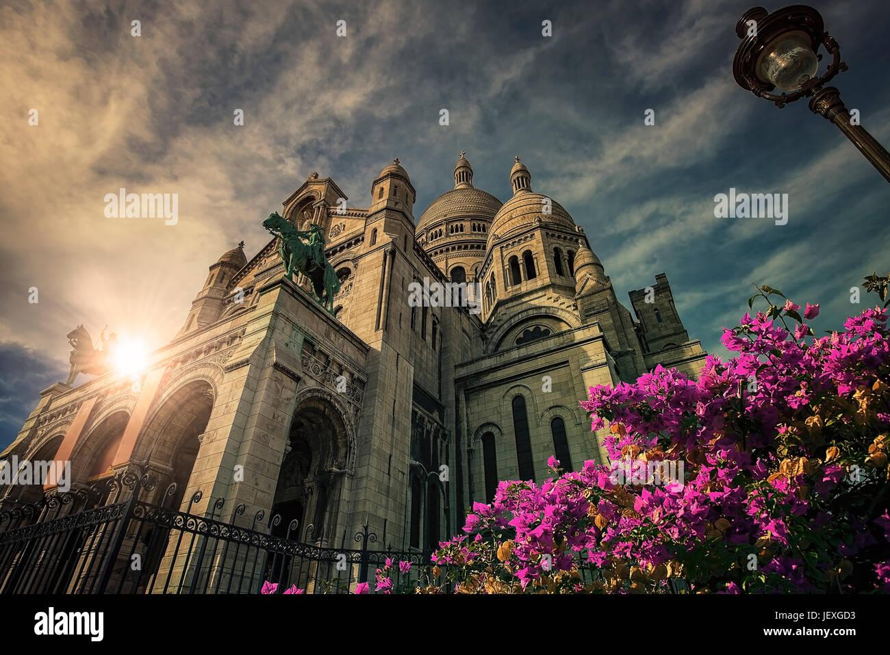 Basílica del Sacré Coeur de Montmartre Paris Foto de stock