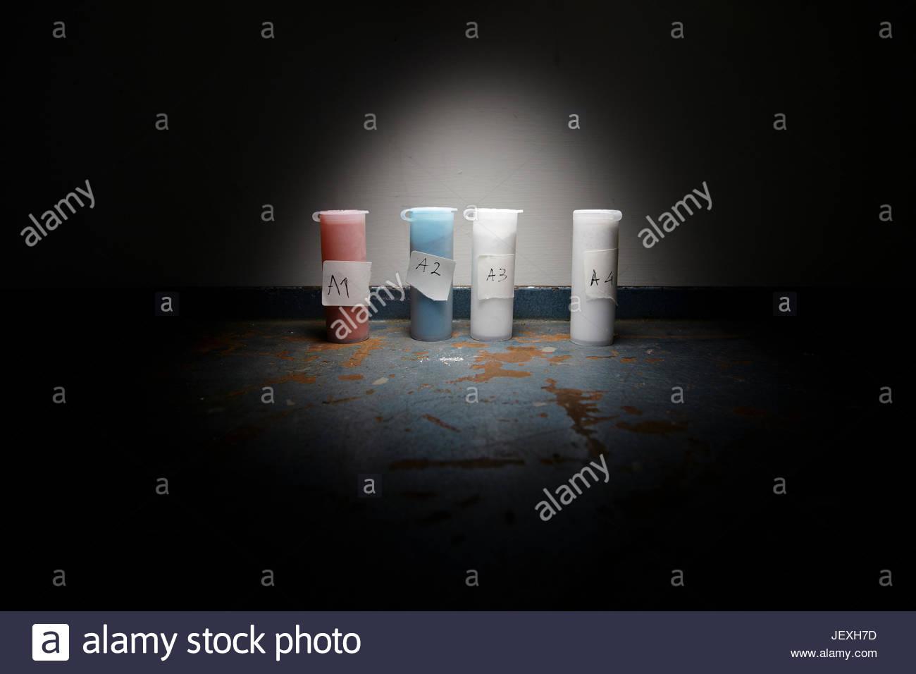 En la búsqueda de Leonardo Da Vinci la Batalla de Anghiari, muestras de pigmentos similares a los usados por Imagen De Stock