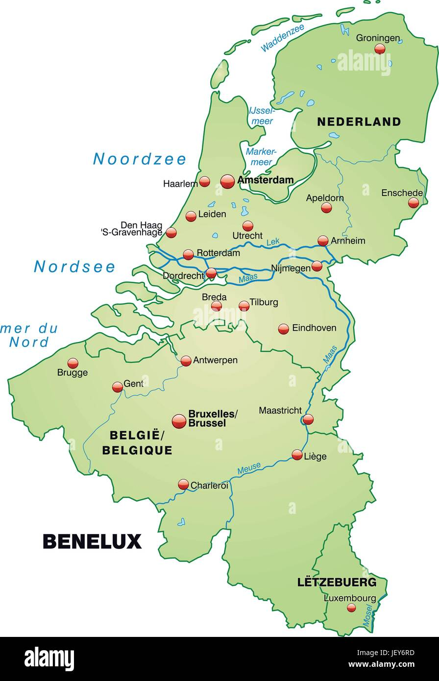 blgica holanda benelux la tarjeta el contorno las fronteras luxemburgo atlas mapa