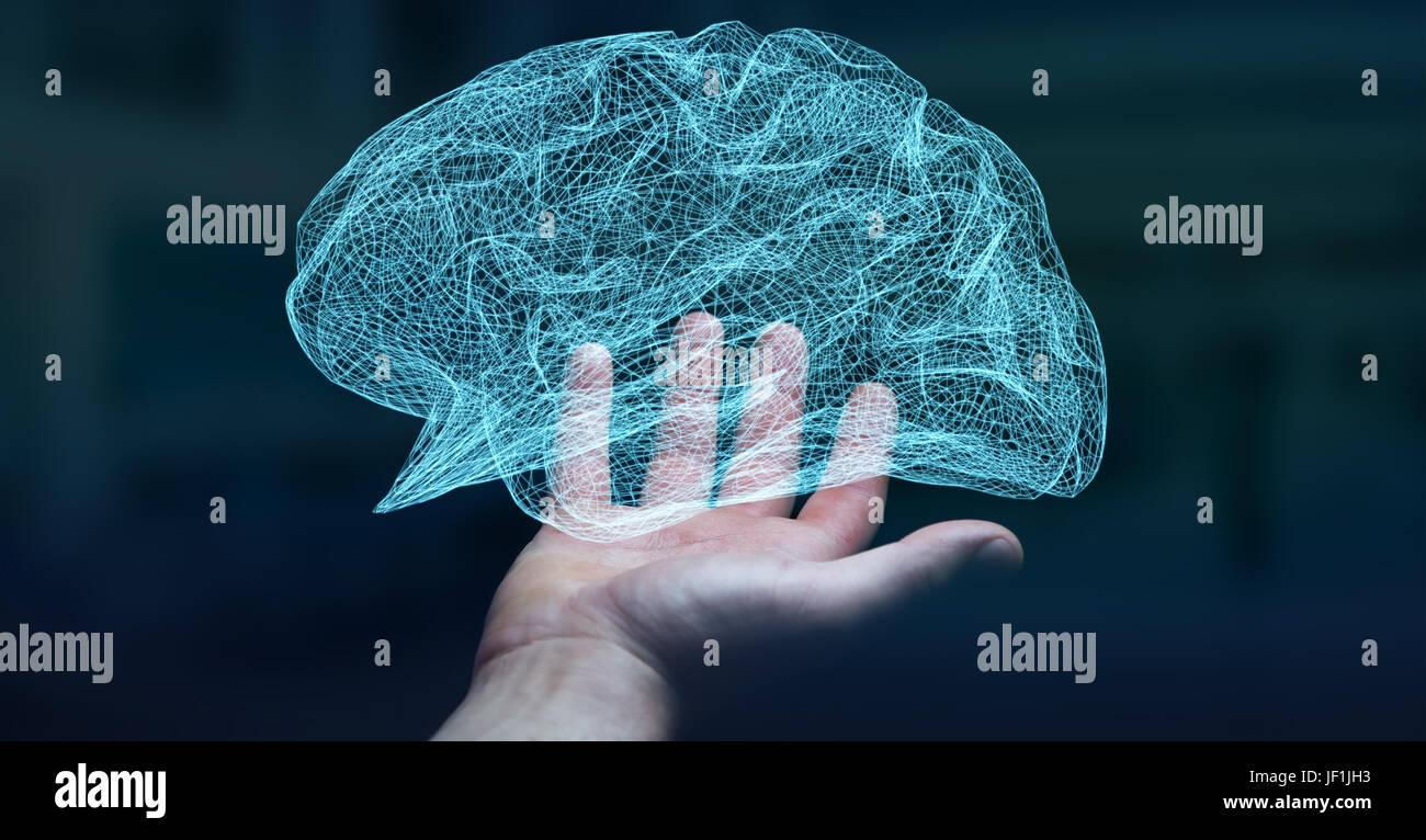 Empresario celebración digital con células del cerebro humano y las neuronas actividad 3D rendering Imagen De Stock