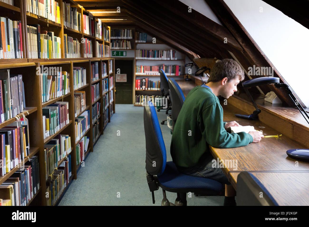 Estudiante universitario que estudia en la biblioteca, Queens College Cambridge University, Cambridge UK Foto de stock