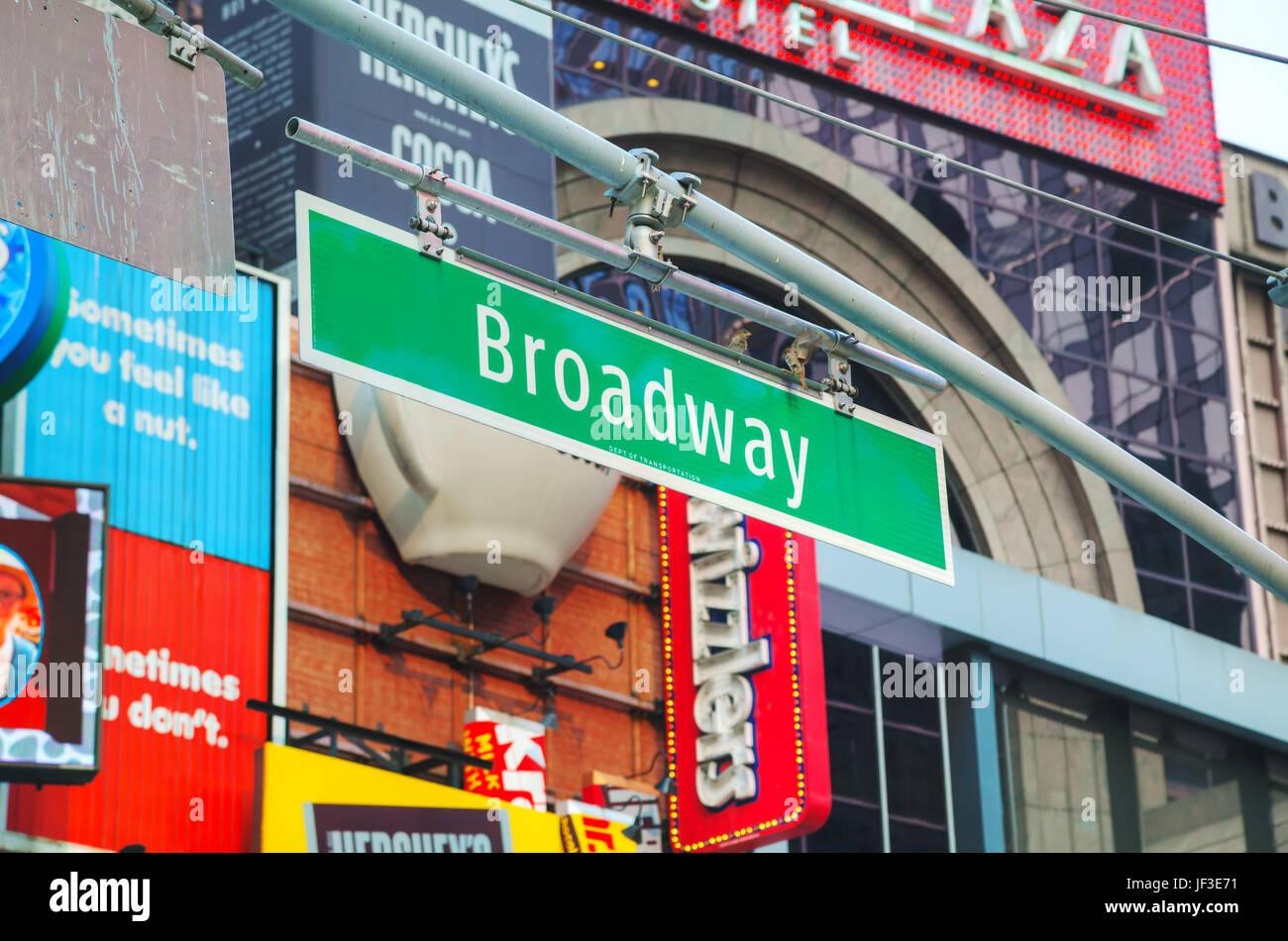 Signo de Broadway en la Ciudad de Nueva York, EE.UU. Imagen De Stock