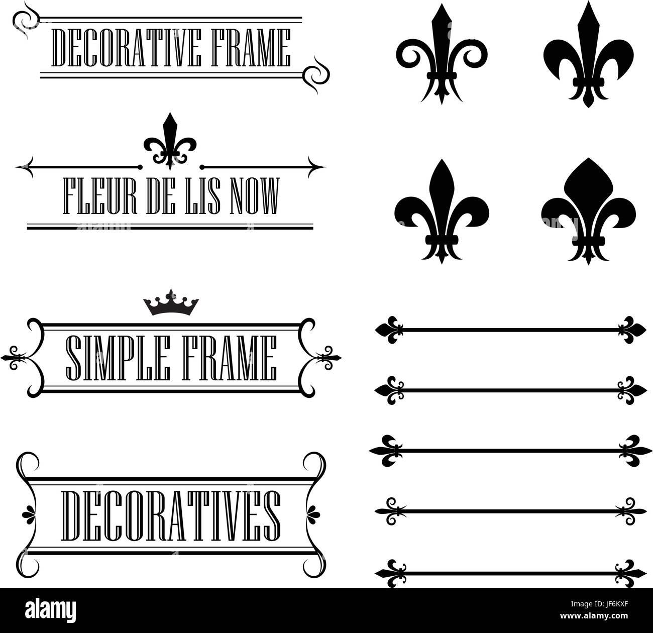 Vintage, ornamento, decorativo, frame, divisor, borde, elementos ...
