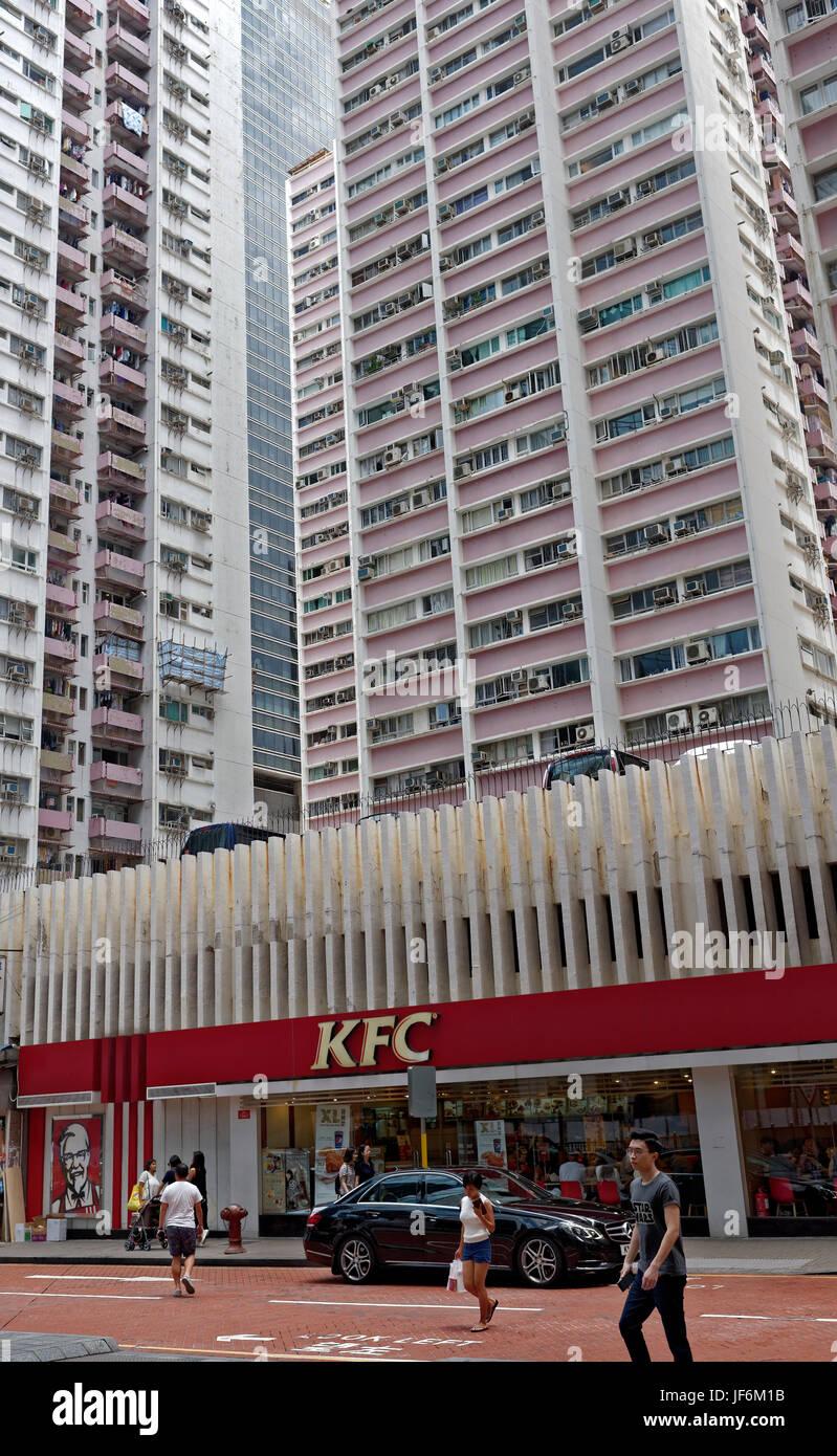 La atestada alojamiento de Hong Kong Foto de stock