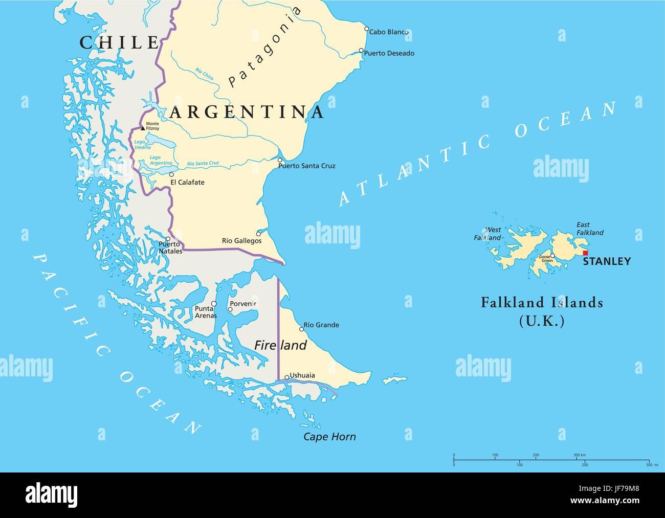 Islas, Estados Unidos, Argentina, Inglaterra, sur de Chile, Islas del Pacífico, la sal Ilustración del Vector