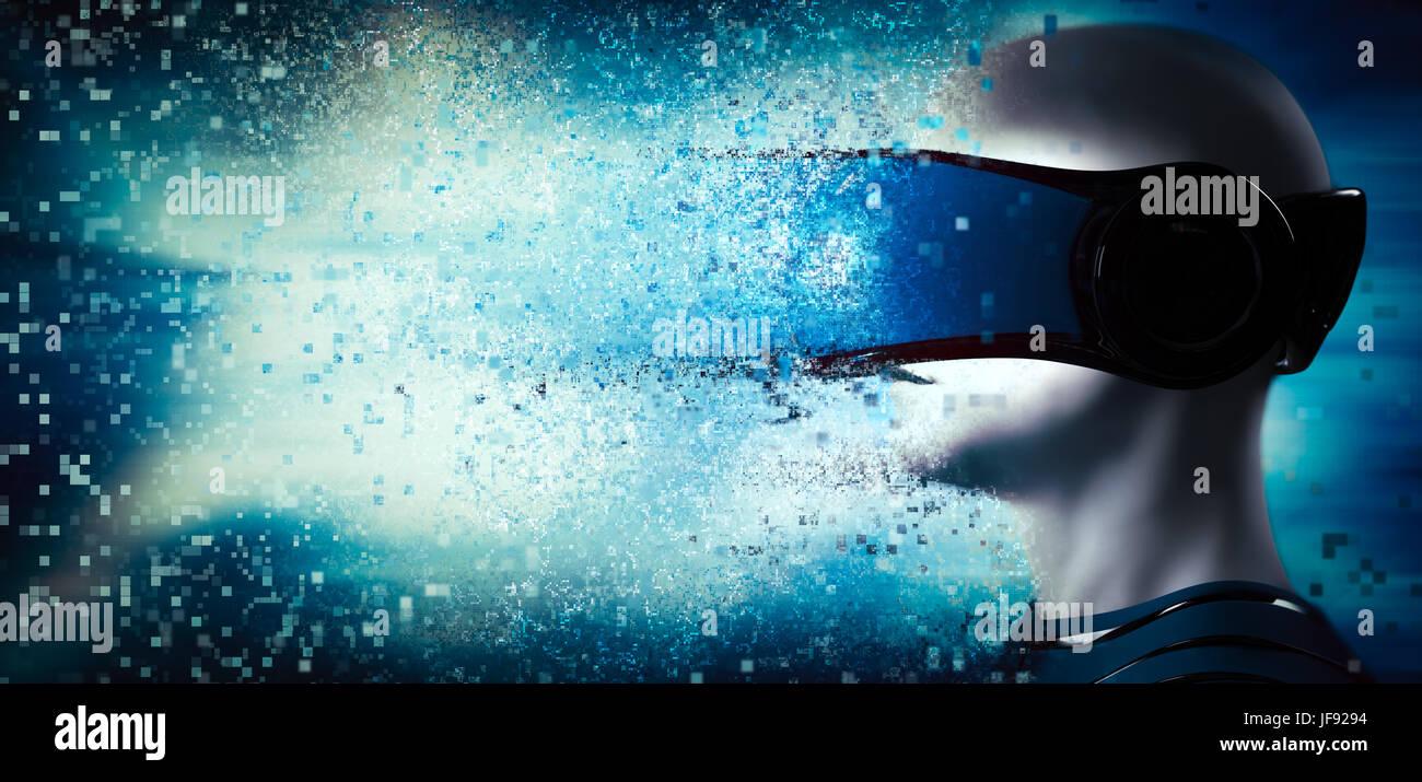 En el mundo de realidad virtual. Hombre vestido con goggle auriculares. La tecnología del futuro. 3D rendering Imagen De Stock