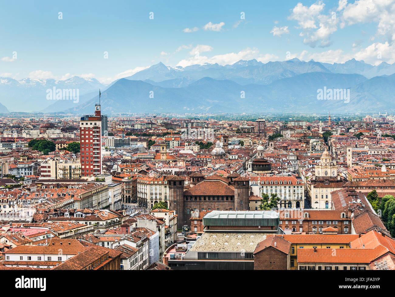 Vista aérea de Turín, Turín, Italia Foto de stock