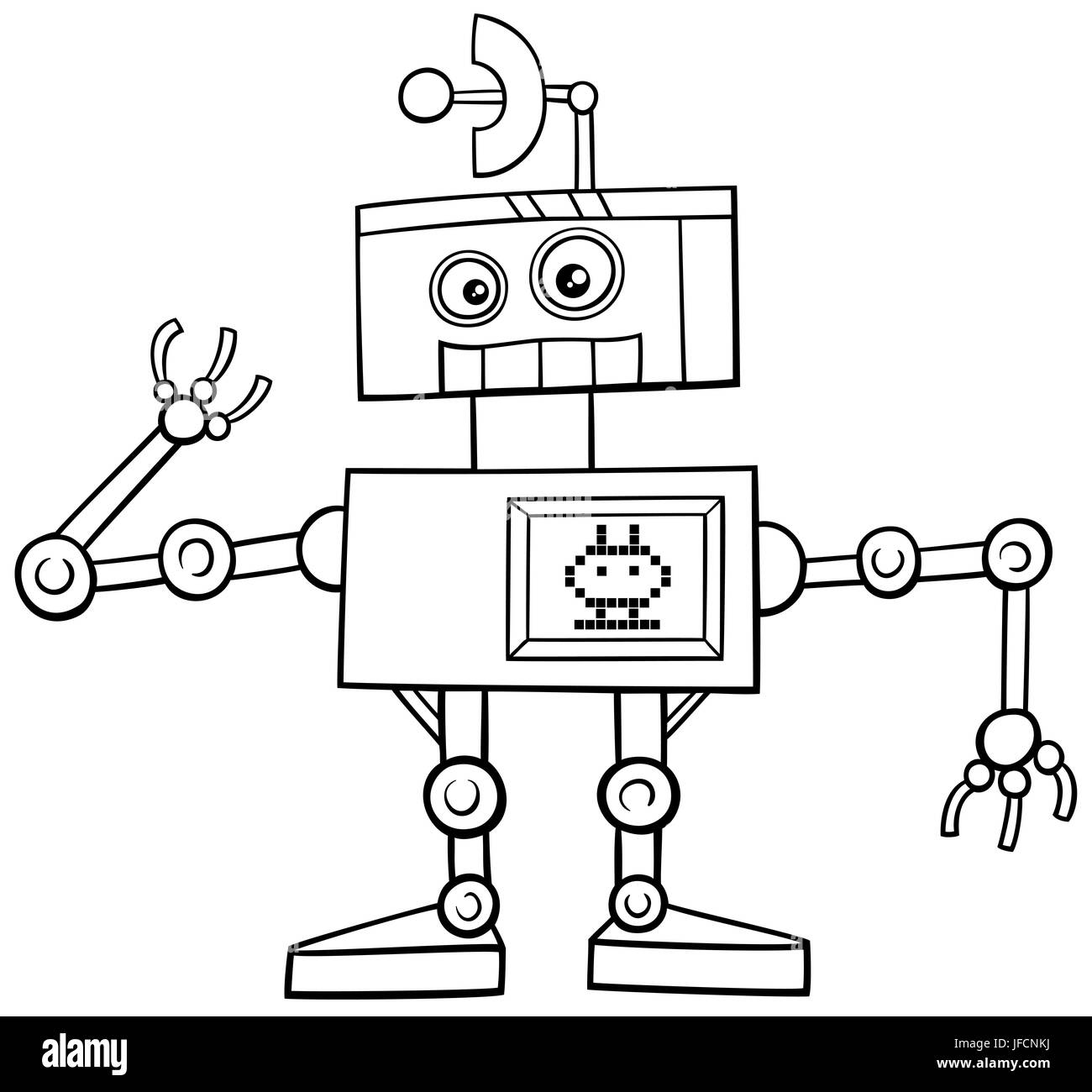 Carácter De Robot Página Para Colorear Foto Imagen De Stock