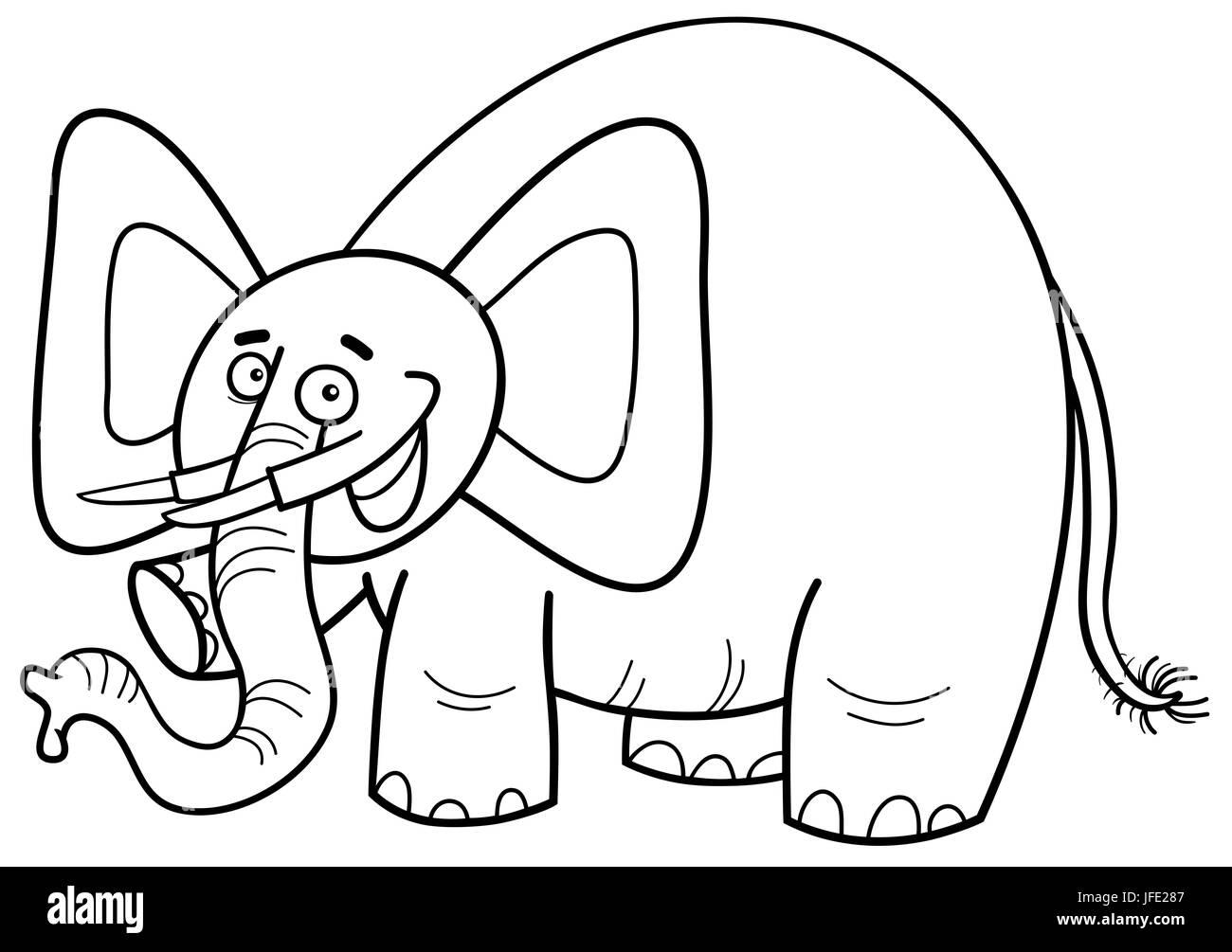 Carácter de elefantes página para colorear Foto & Imagen De Stock ...