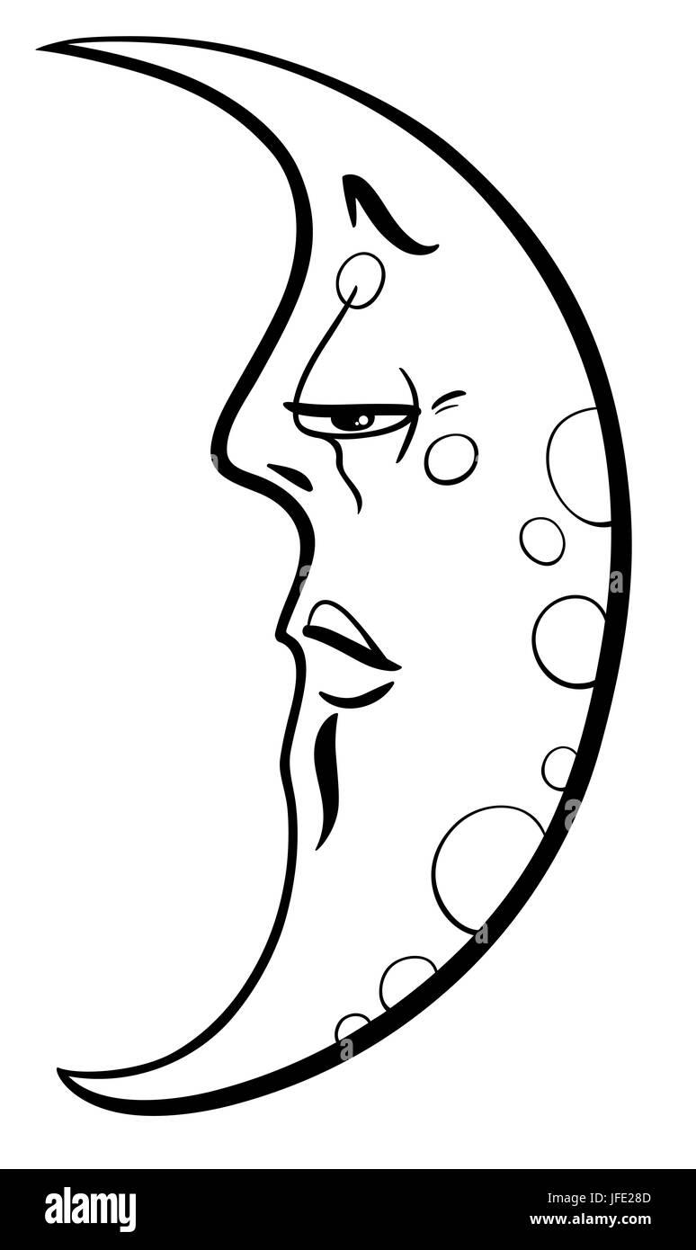 Luna Página Para Colorear Dibujos Animados Foto Imagen De