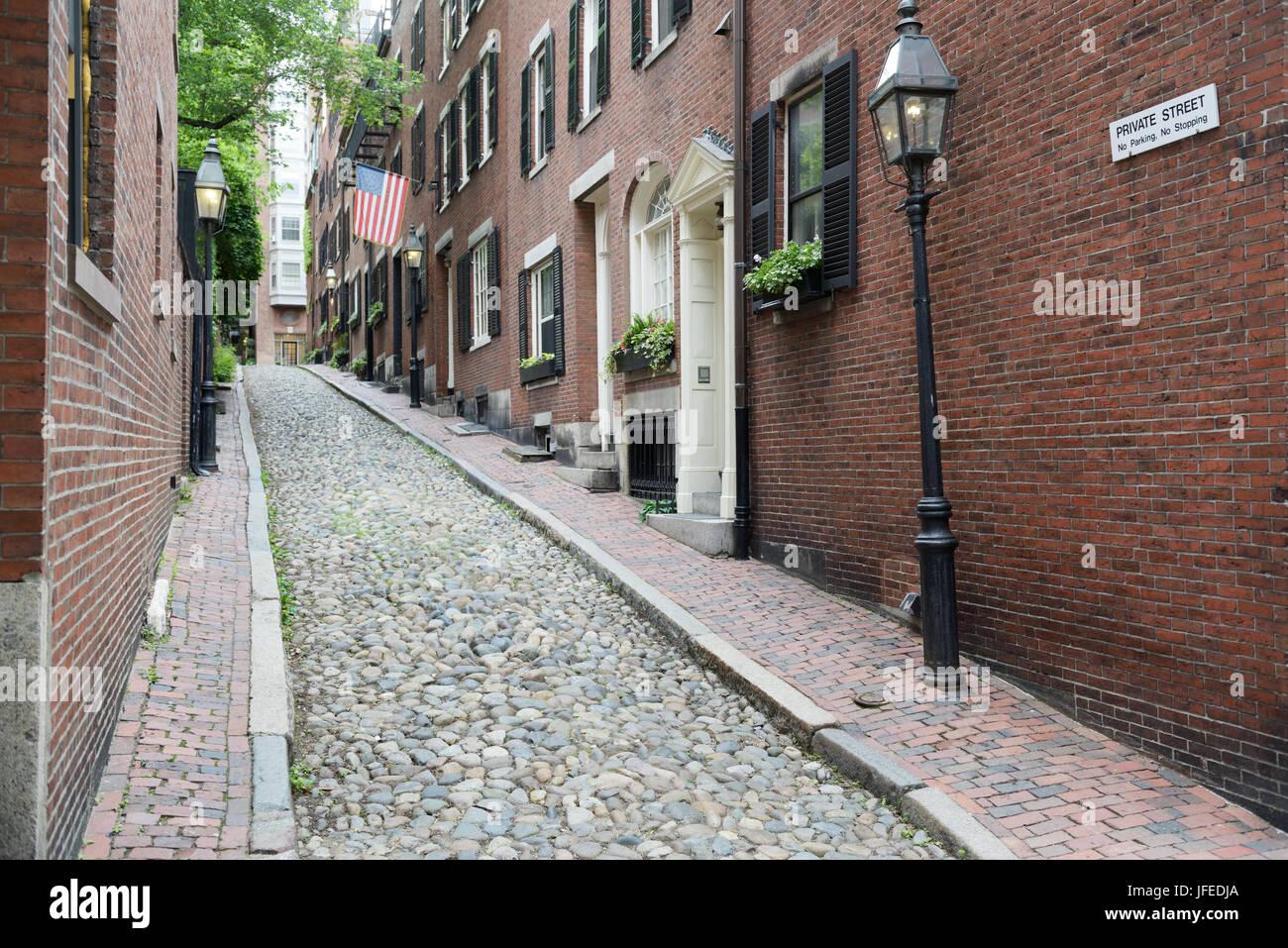 La histórica calle de bellota, barrio Beacon Hill de Boston, MA Imagen De Stock